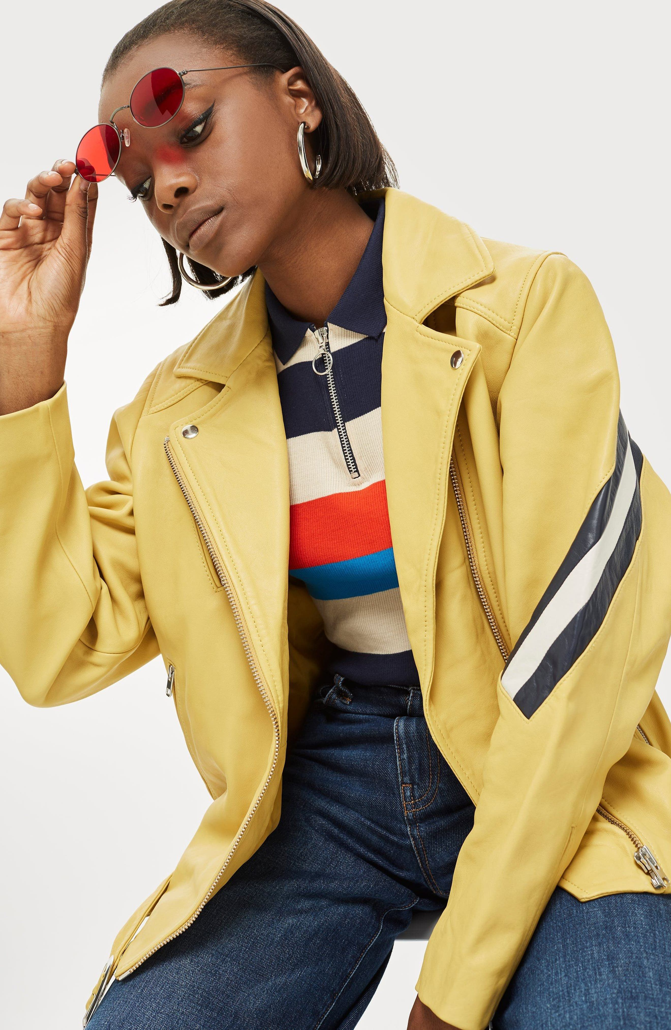 Strobe Leather Jacket,                             Alternate thumbnail 2, color,                             Yellow Multi