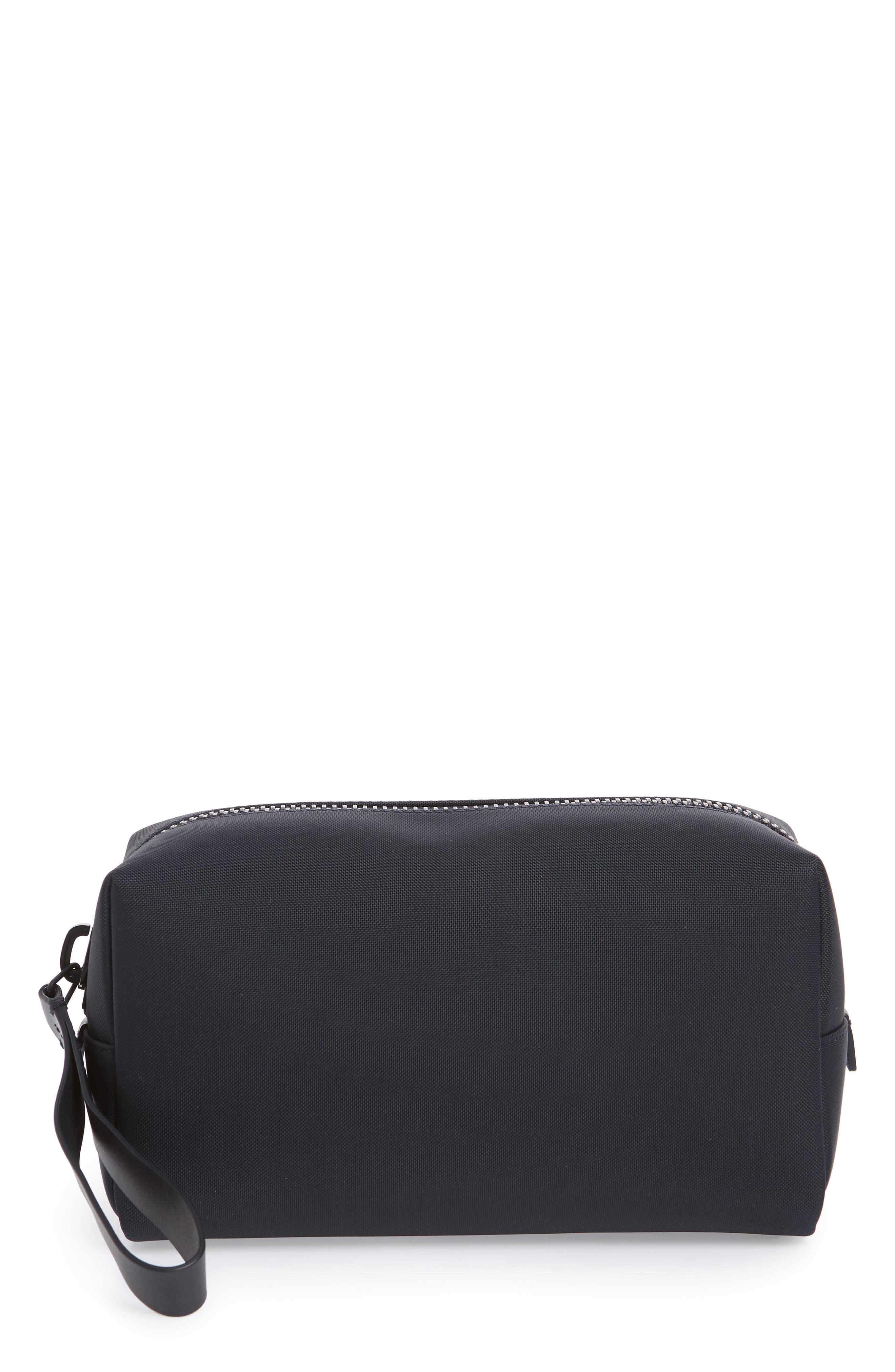 Nylon Dopp Kit,                         Main,                         color, Navy Nylon/ Navy Leather