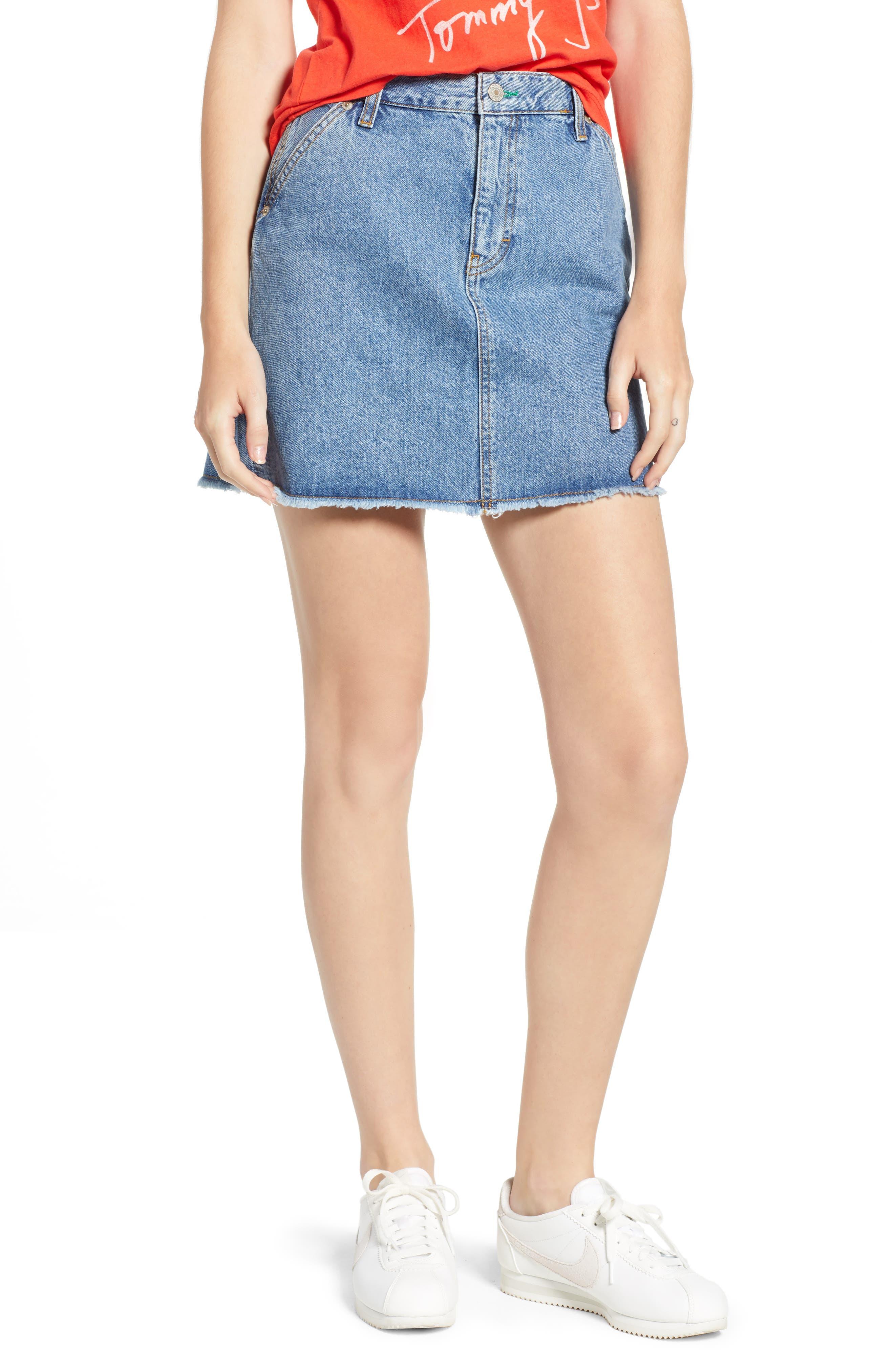 90s Denim Skirt,                             Main thumbnail 1, color,                             Mid Blue Denim