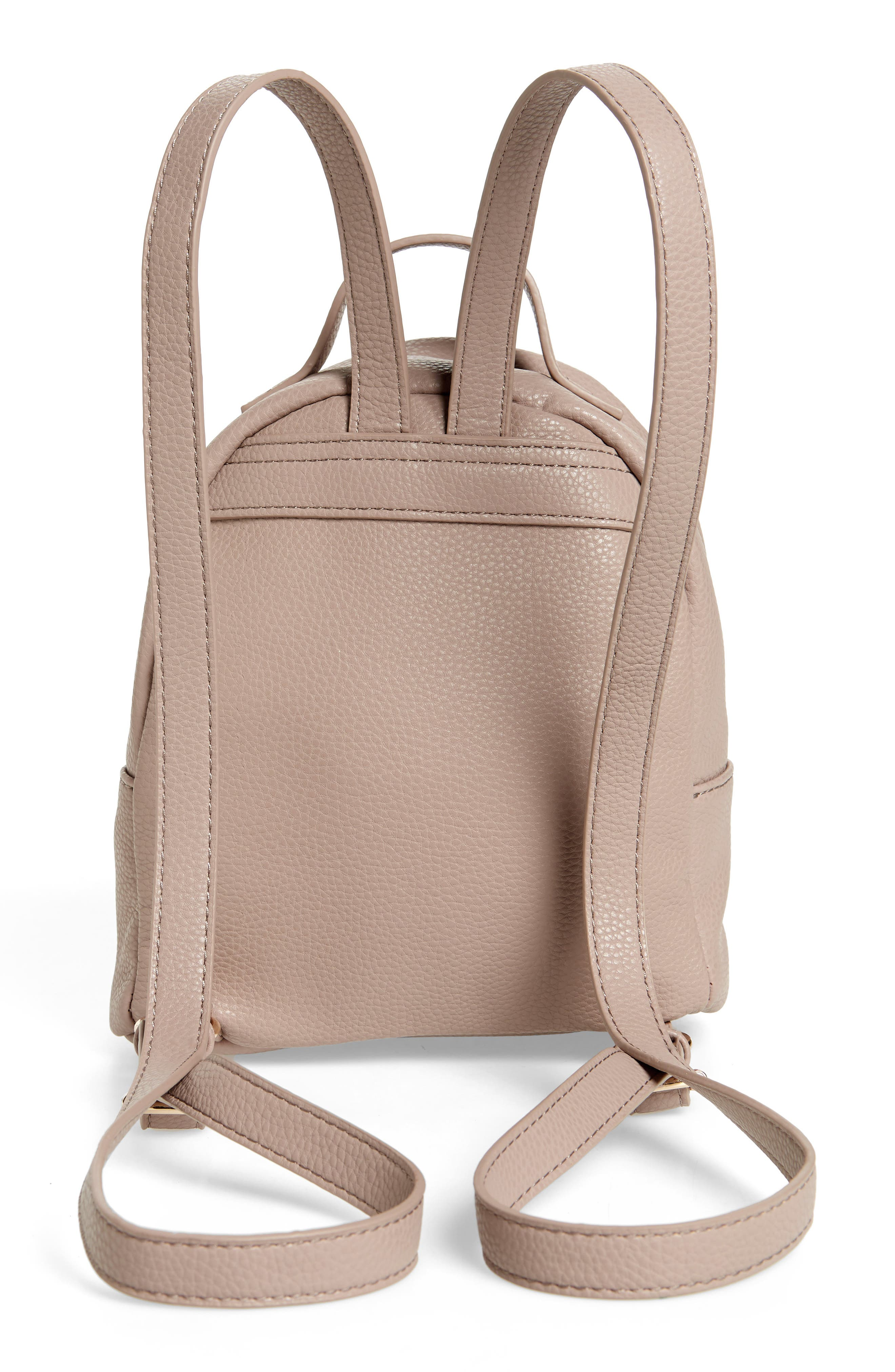 Tracie Mini Faux Leather Backpack,                             Alternate thumbnail 3, color,                             Taupe