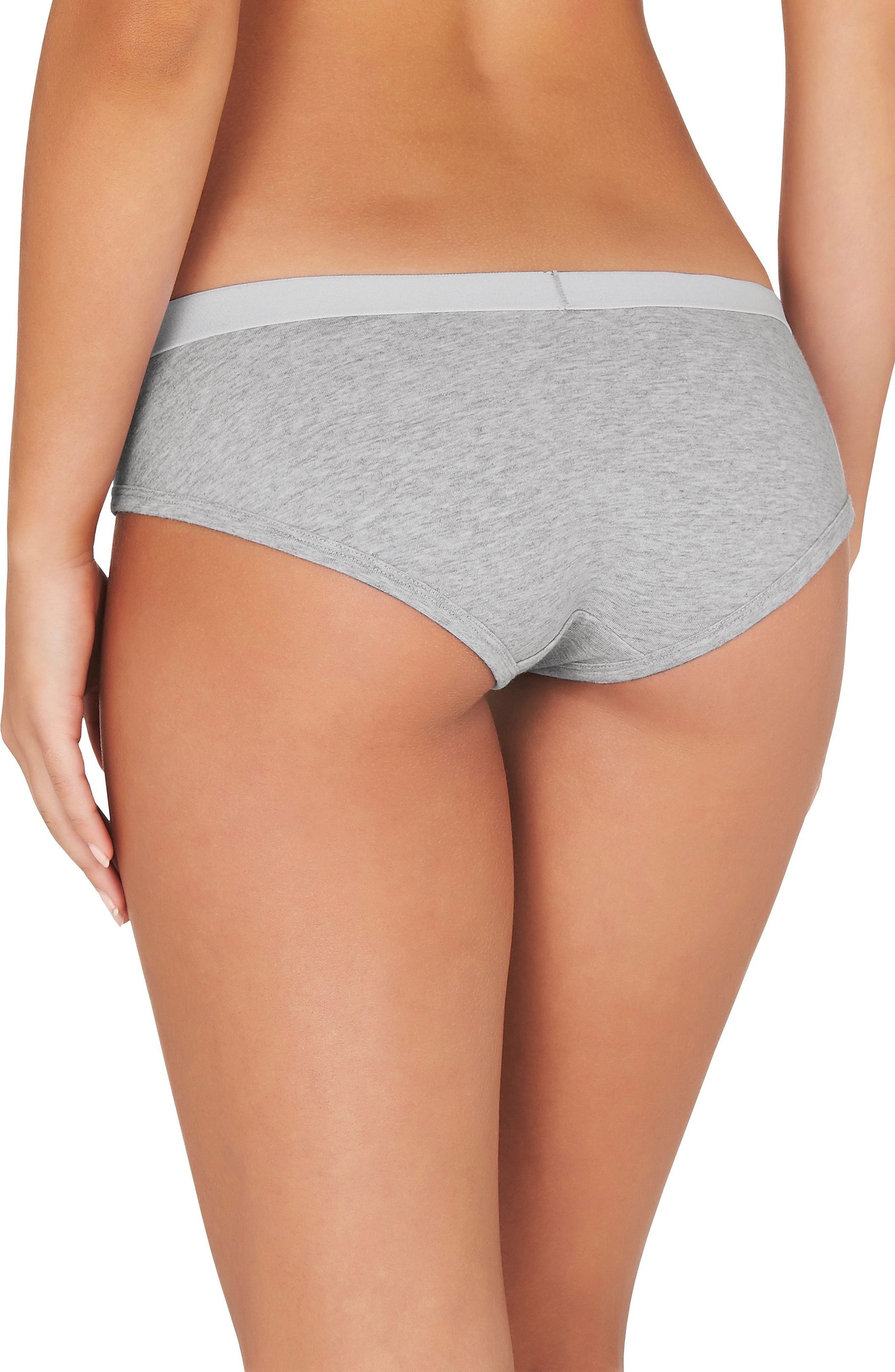 2-Pack Stretch Organic Cotton Hipster Girlfriend Panties,                             Alternate thumbnail 3, color,                             Grey Marle