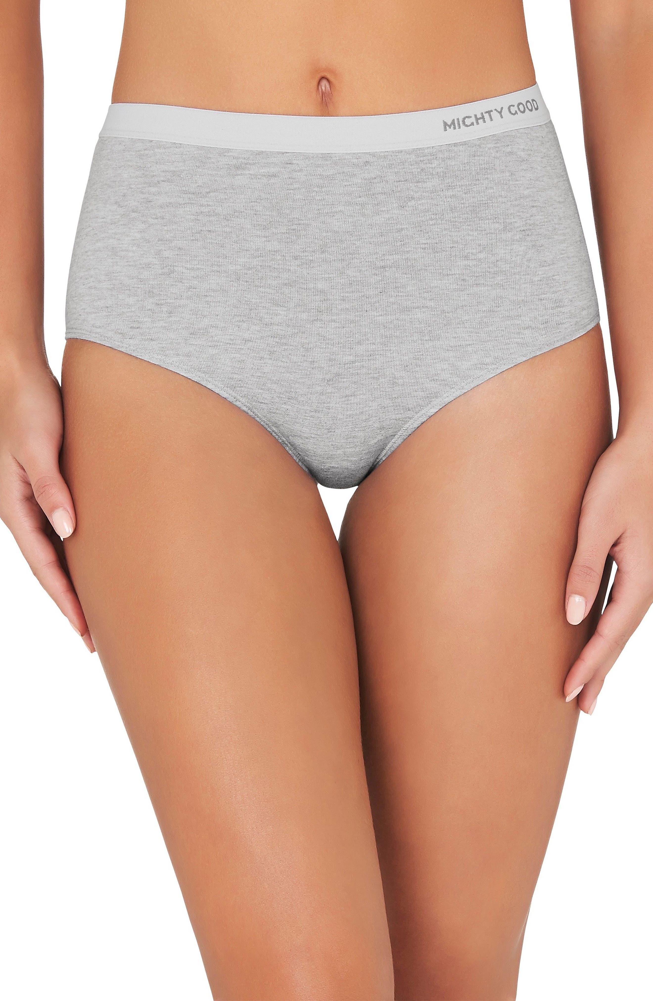 2-Pack Stretch Organic Cotton High Waist Girlfriend Briefs,                         Main,                         color, Grey Marle