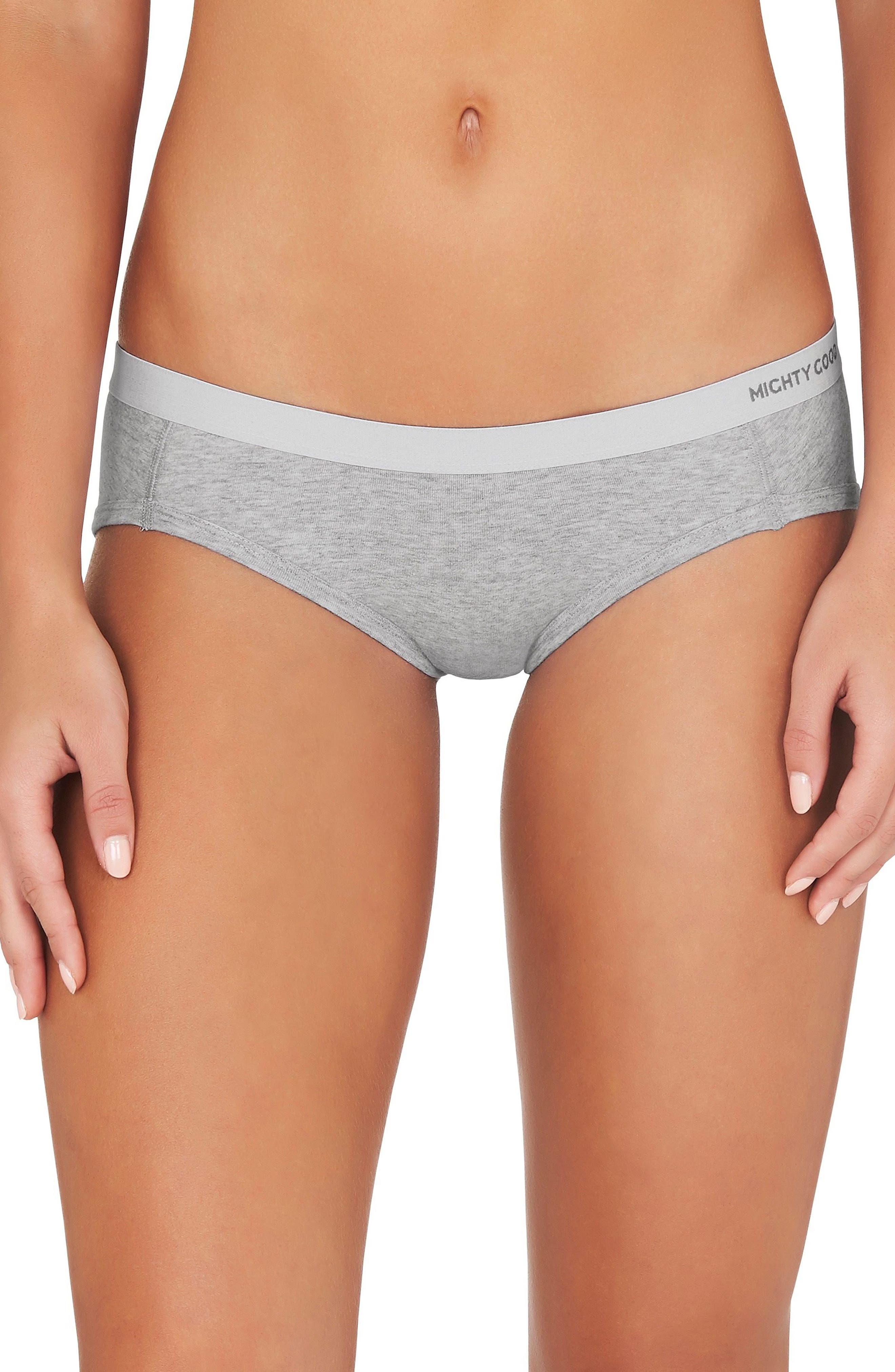 2-Pack Stretch Organic Cotton Hipster Girlfriend Panties,                         Main,                         color, Grey Marle