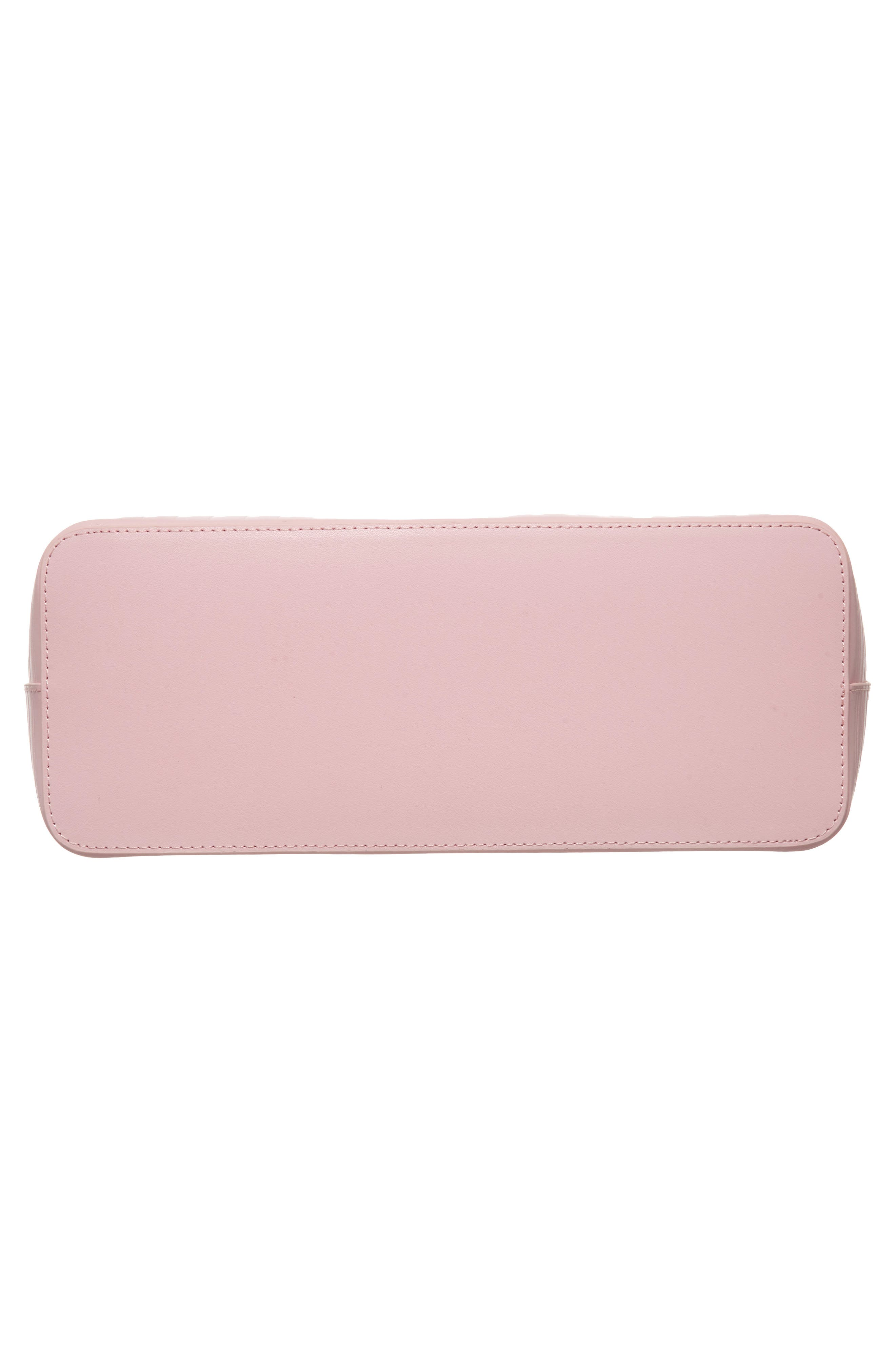 Bow Embossed Leather Shopper,                             Alternate thumbnail 6, color,                             Light Pink