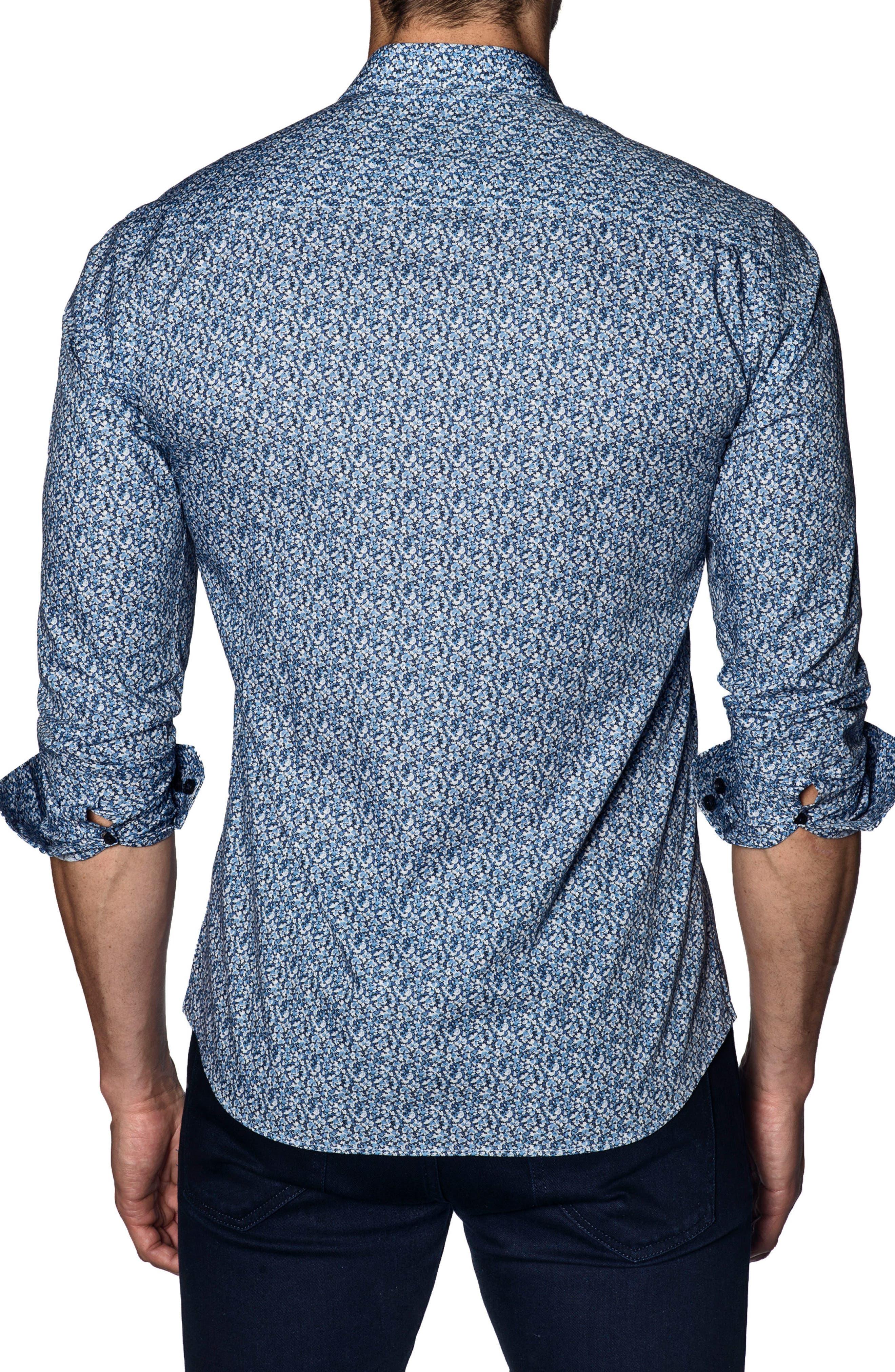 Trim Fit Sport Shirt,                             Alternate thumbnail 2, color,                             Blue Print