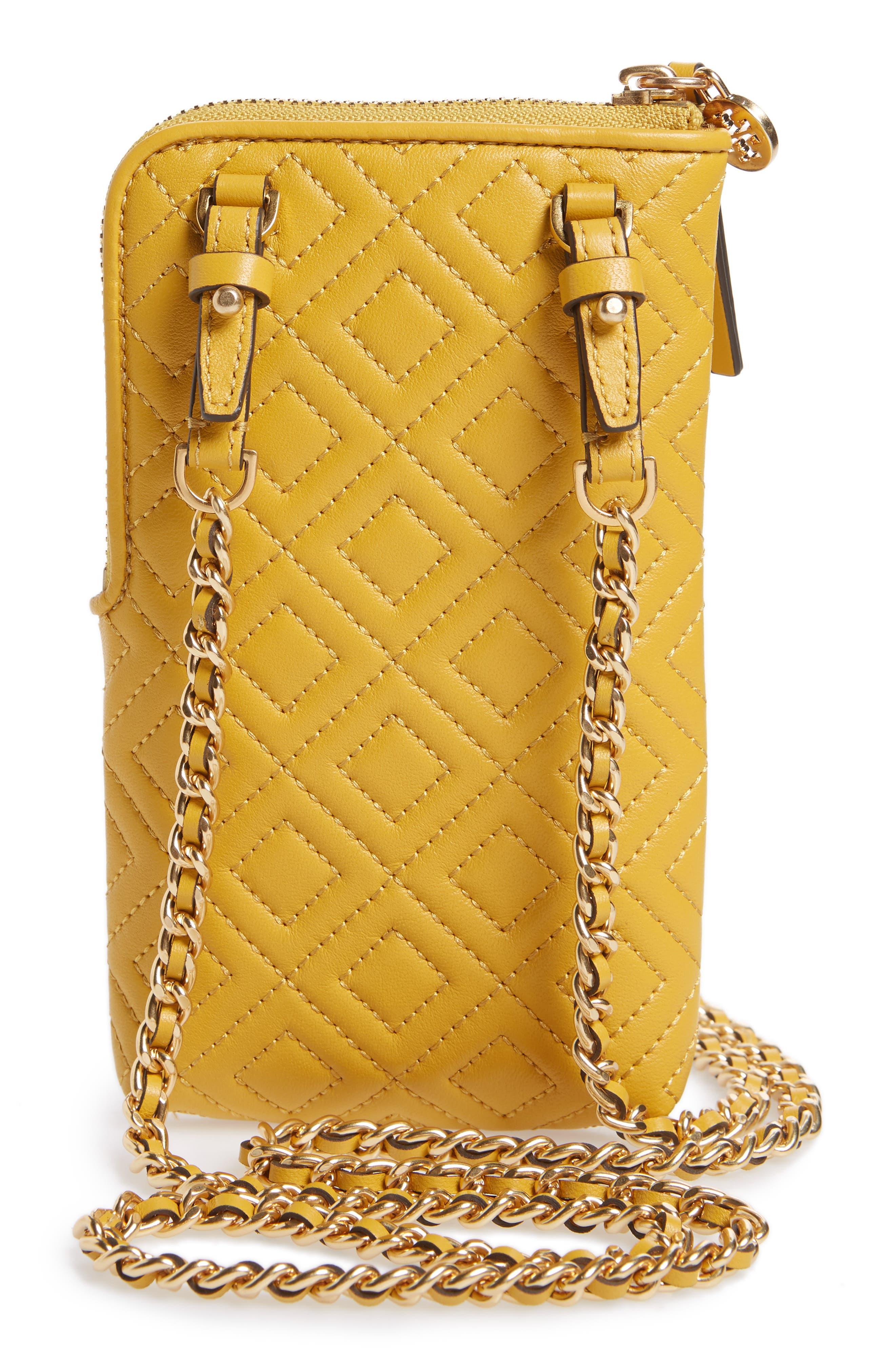 Fleming Lambskin Leather Phone Crossbody Bag,                             Alternate thumbnail 3, color,                             Daylily