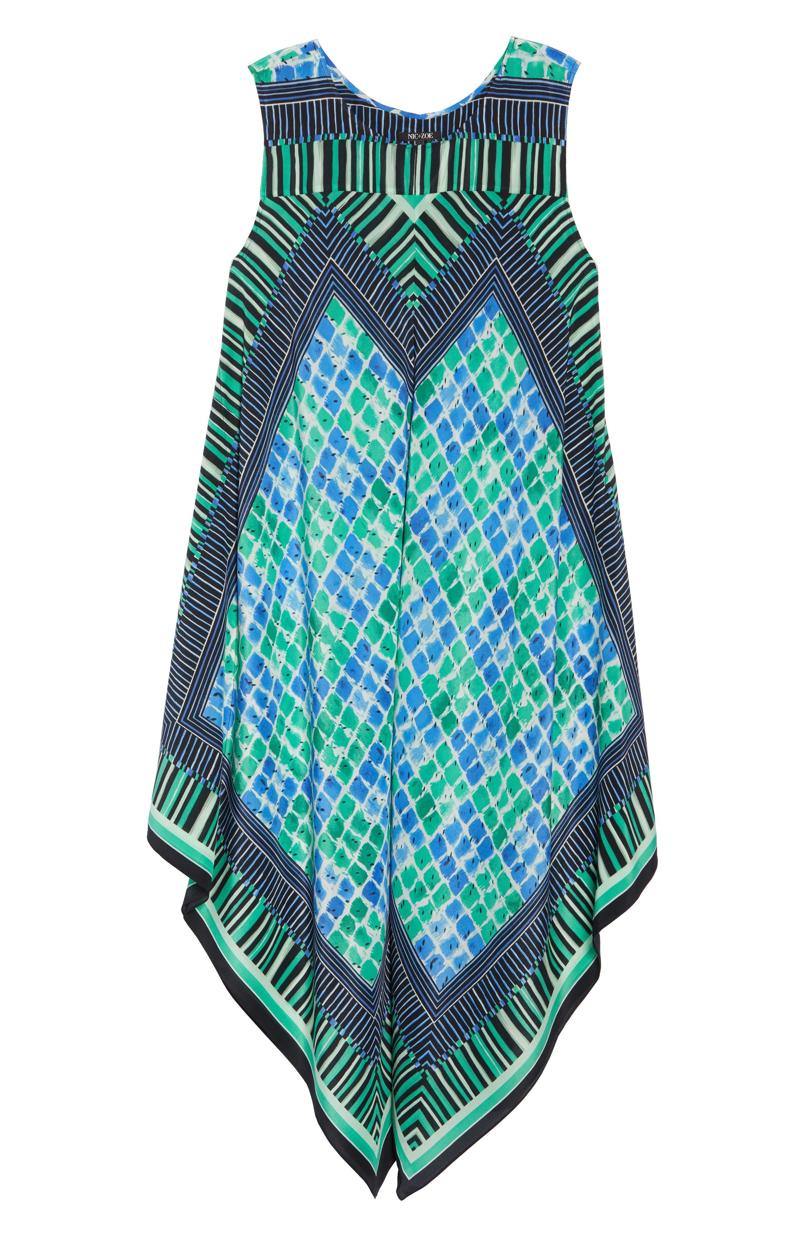 DJ Vu Handkerchief Hem Silk Blend Dress,                             Alternate thumbnail 7, color,                             Multi