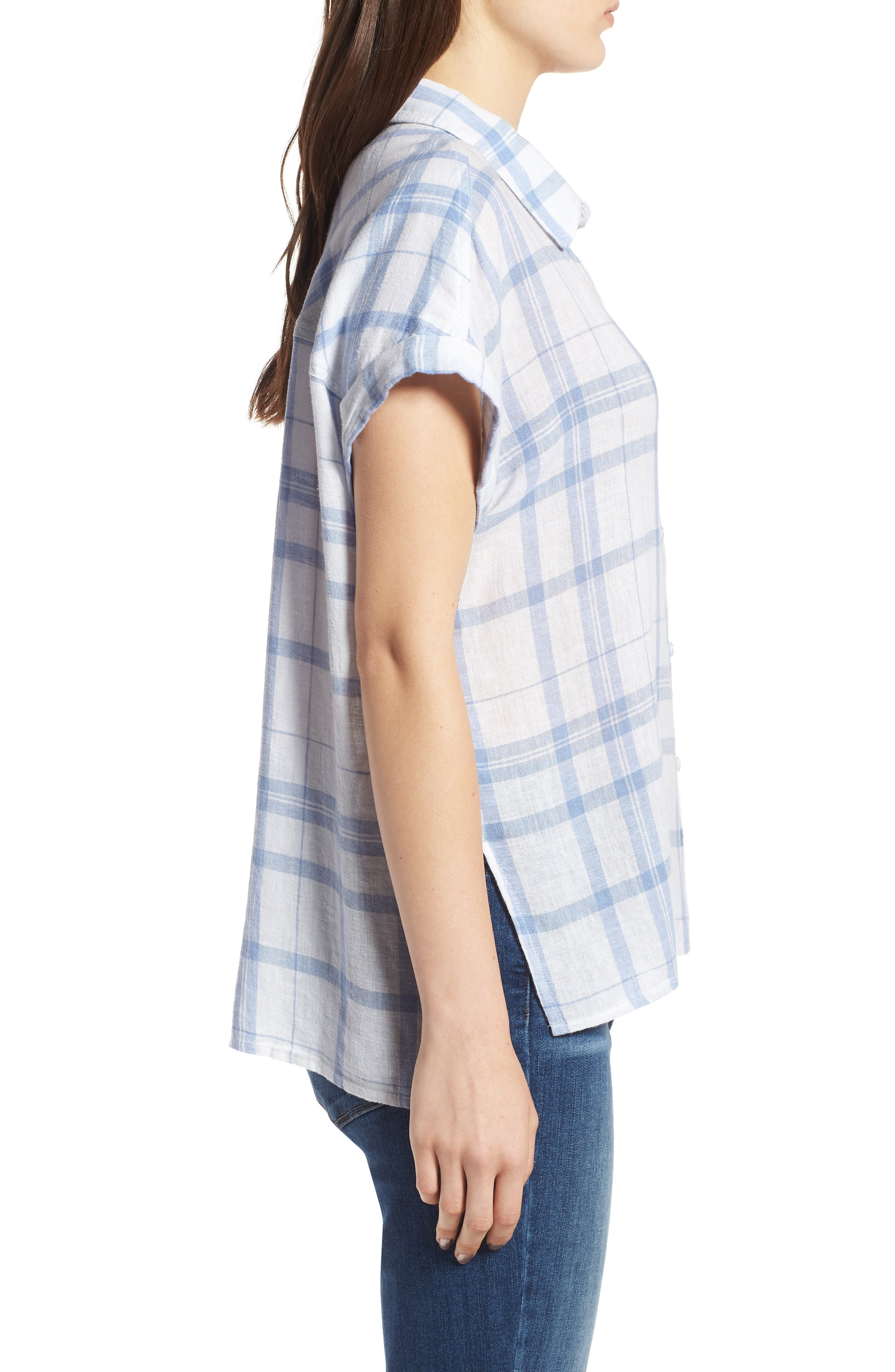 Mia Plaid Shirt,                             Alternate thumbnail 6, color,                             True Blue White