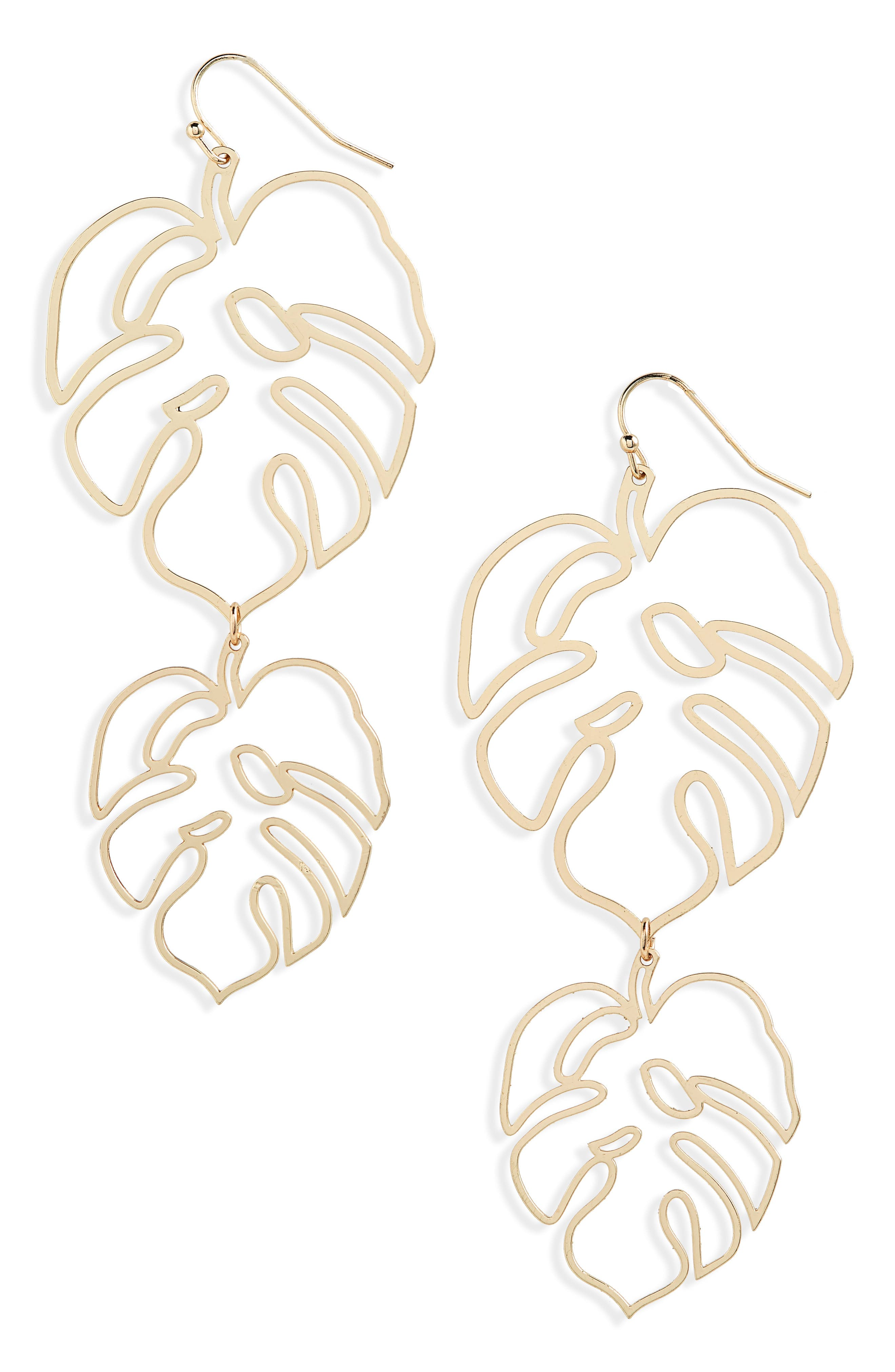 Cutout Leaf Drop Earrings,                             Main thumbnail 1, color,                             Gold