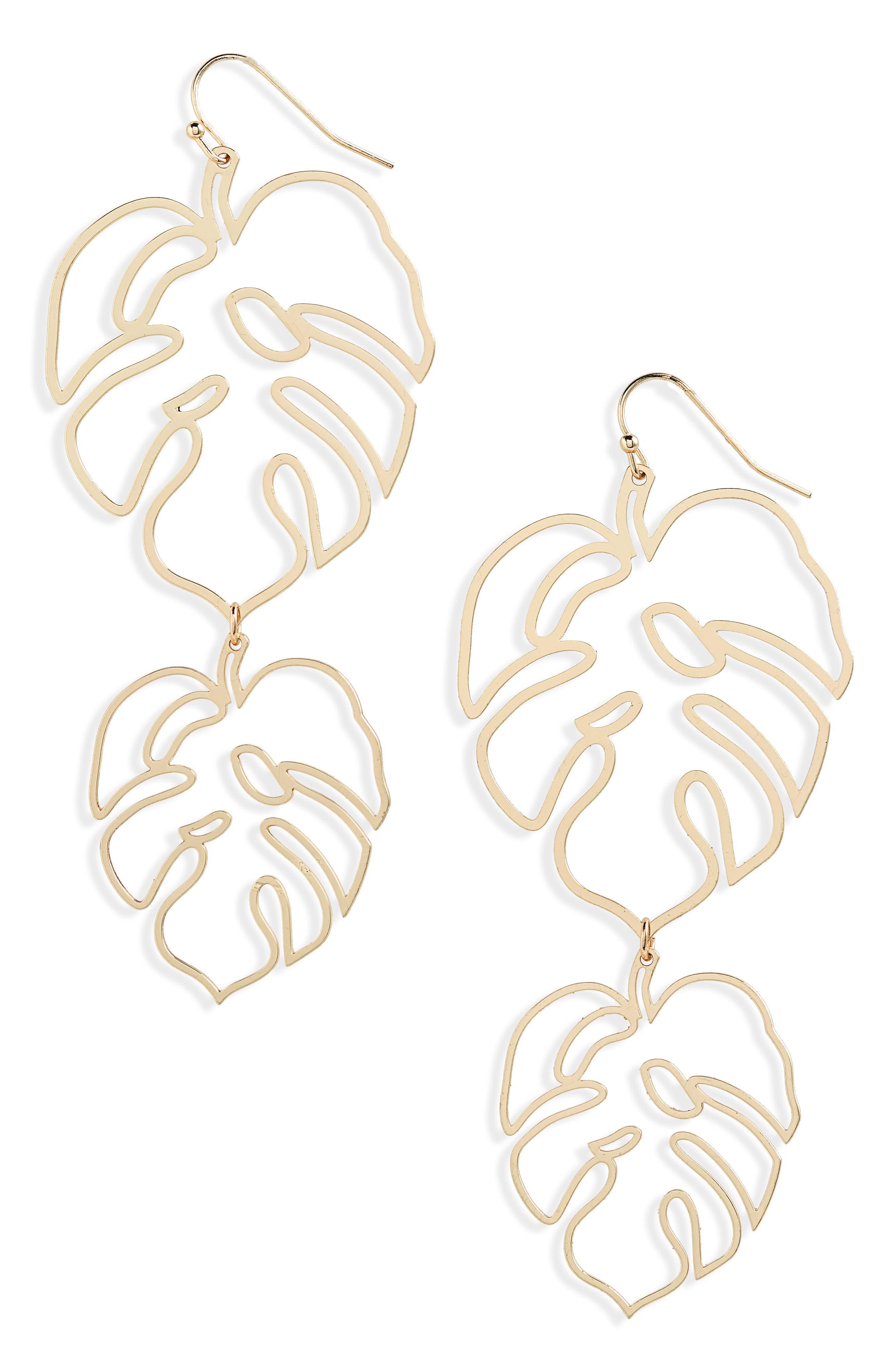 Cutout Leaf Drop Earrings,                         Main,                         color, Gold