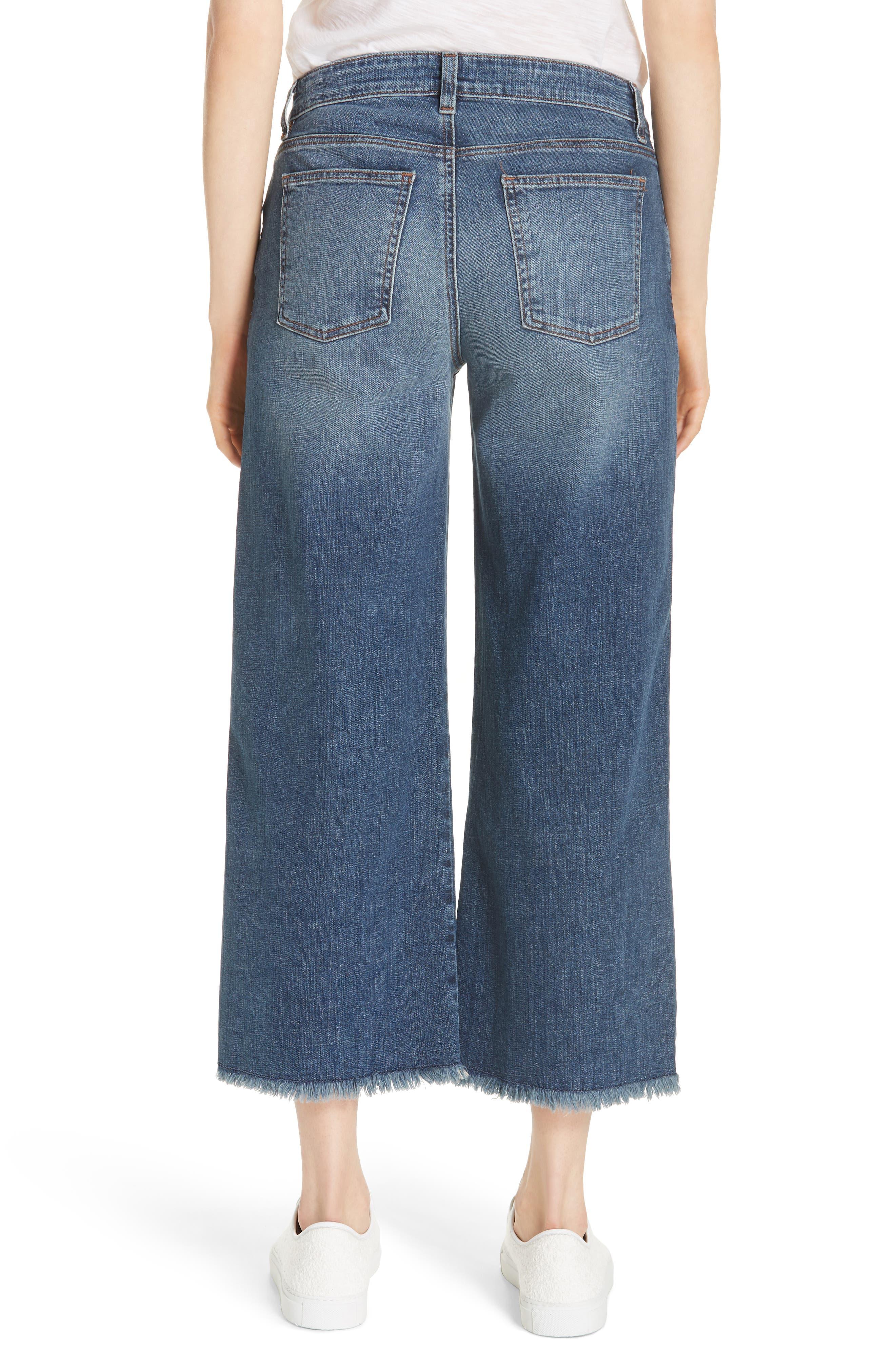 Frayed Wide Leg Ankle Jeans,                             Alternate thumbnail 2, color,                             Aged Indigo