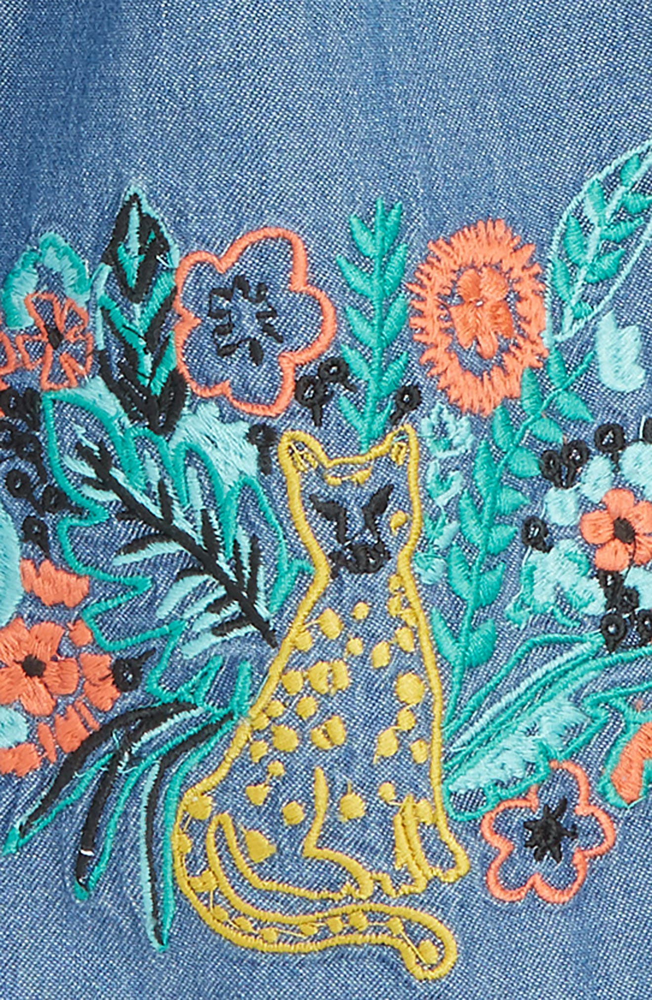 Embroidered Chambray Dress,                             Alternate thumbnail 2, color,                             Blue Wash Jungle Cat