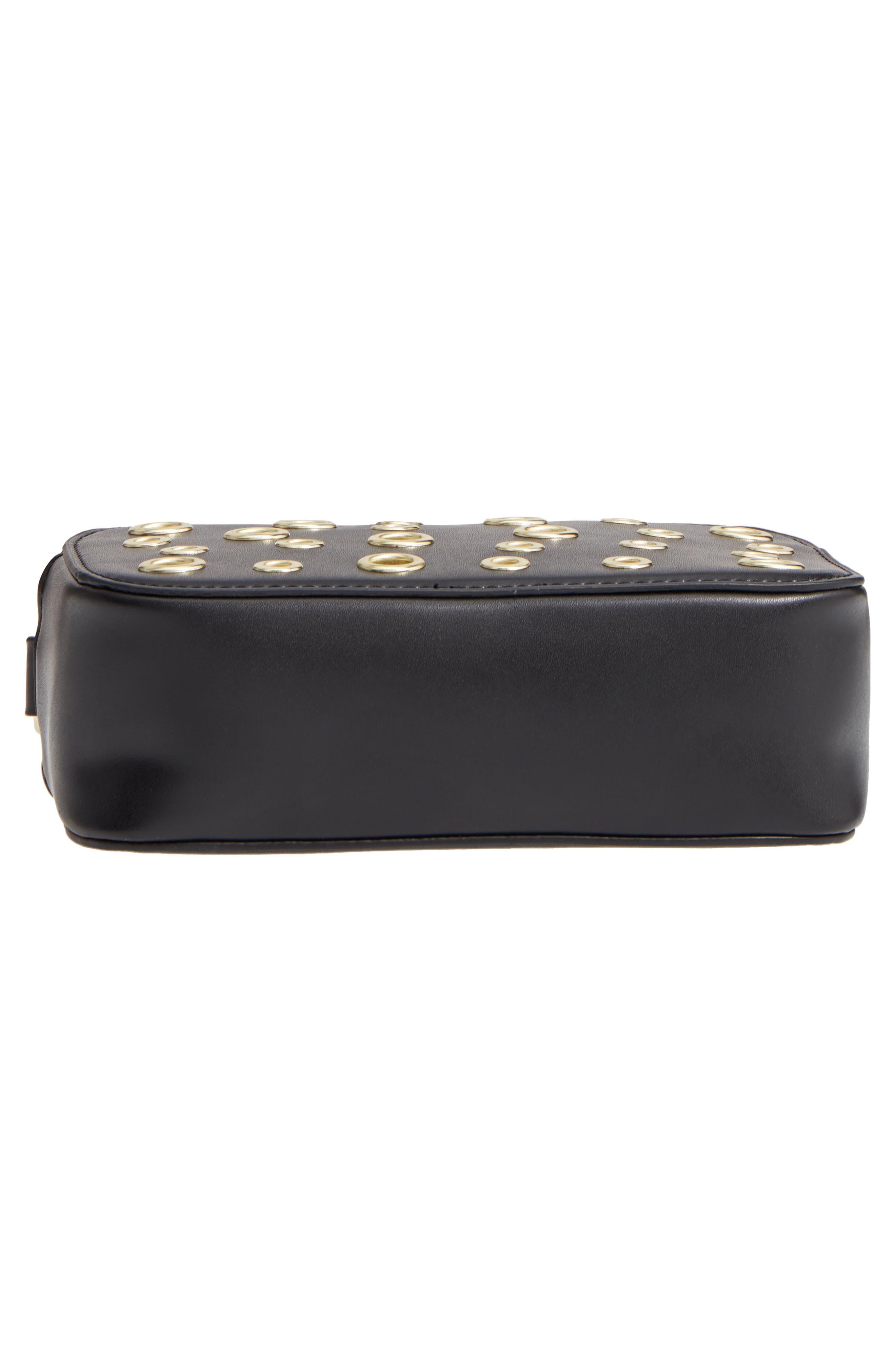 Dyana Grommet Faux Leather Crossbody Bag,                             Alternate thumbnail 4, color,                             Black