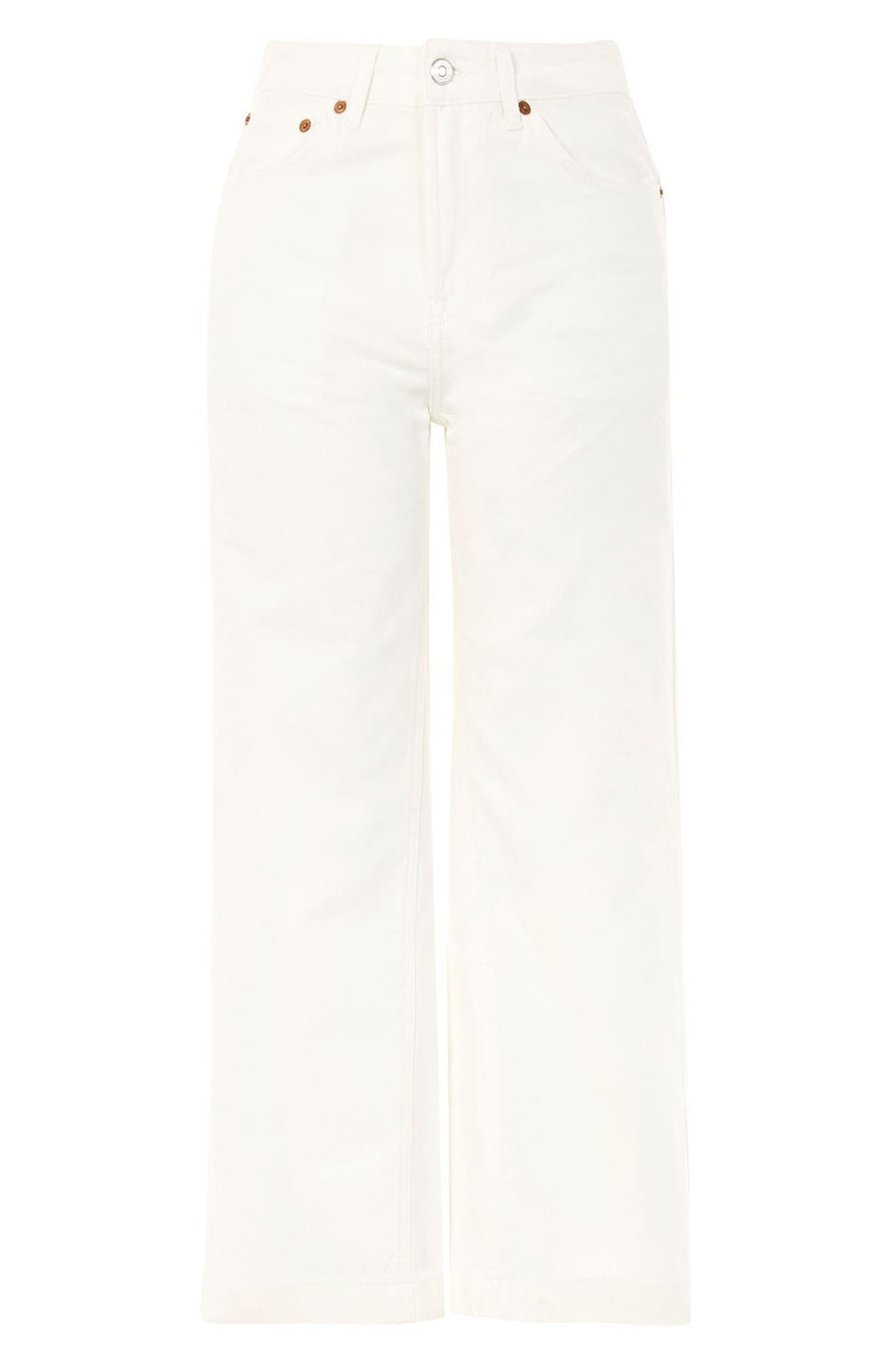 MOTO Cropped Wide Leg Non-Stretch Jeans,                             Alternate thumbnail 3, color,                             White