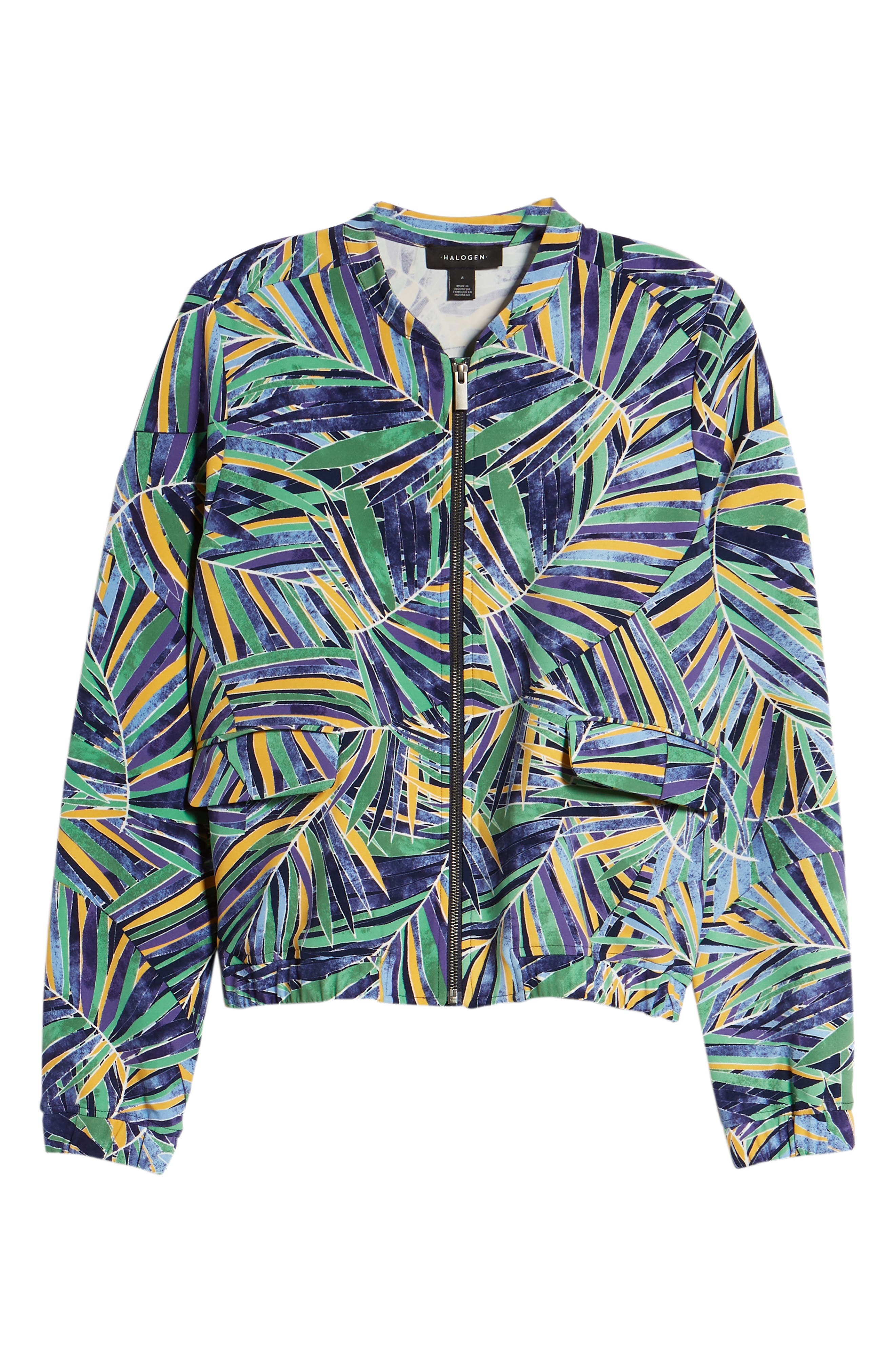 Drawstring Jacket,                             Alternate thumbnail 7, color,                             Green- Blue Palm Print