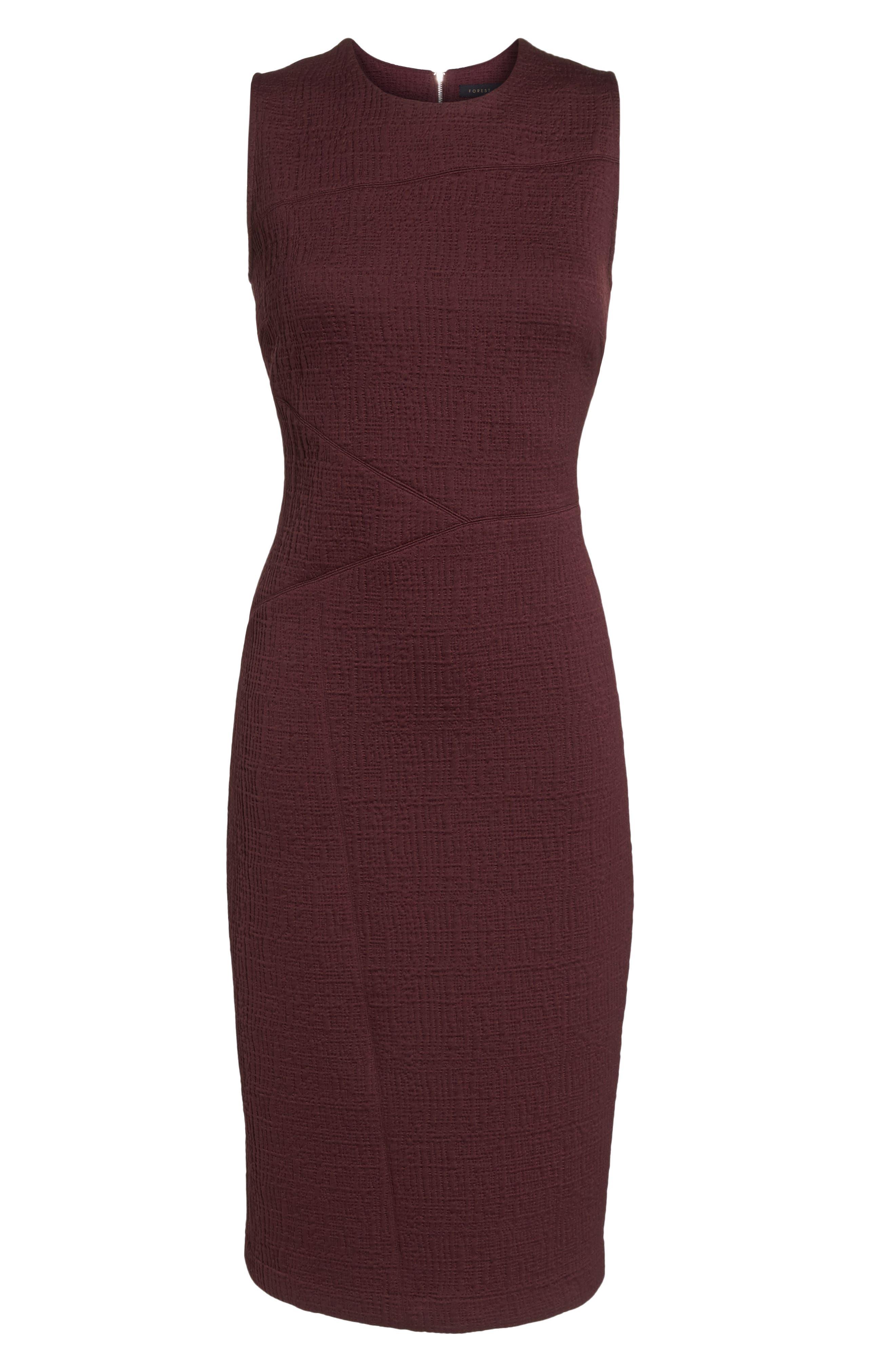 Jacquard Sheath Dress,                             Alternate thumbnail 7, color,                             Fig
