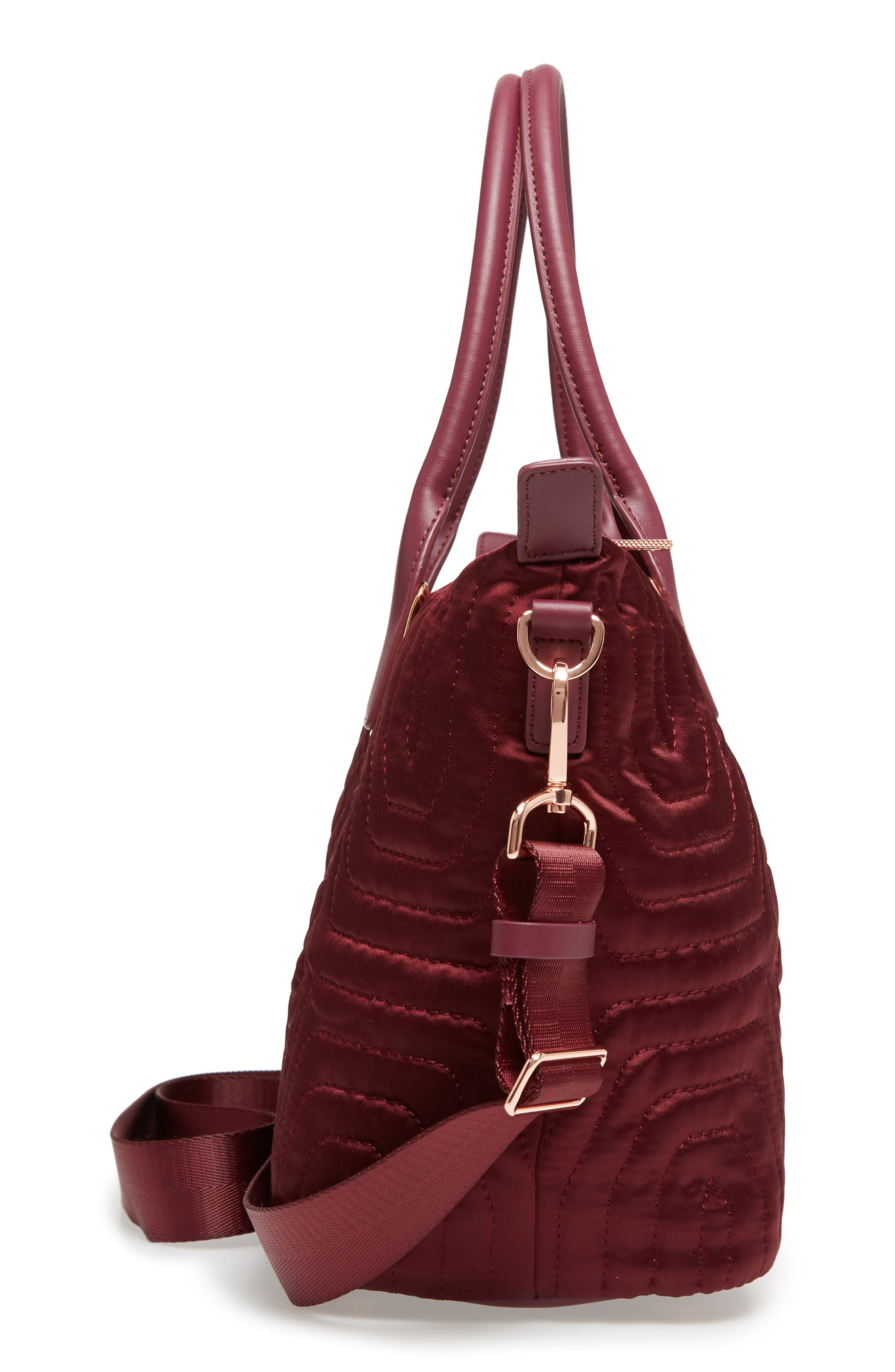 Akebia Quilted Bow Small Nylon Tote,                             Alternate thumbnail 5, color,                             Maroon