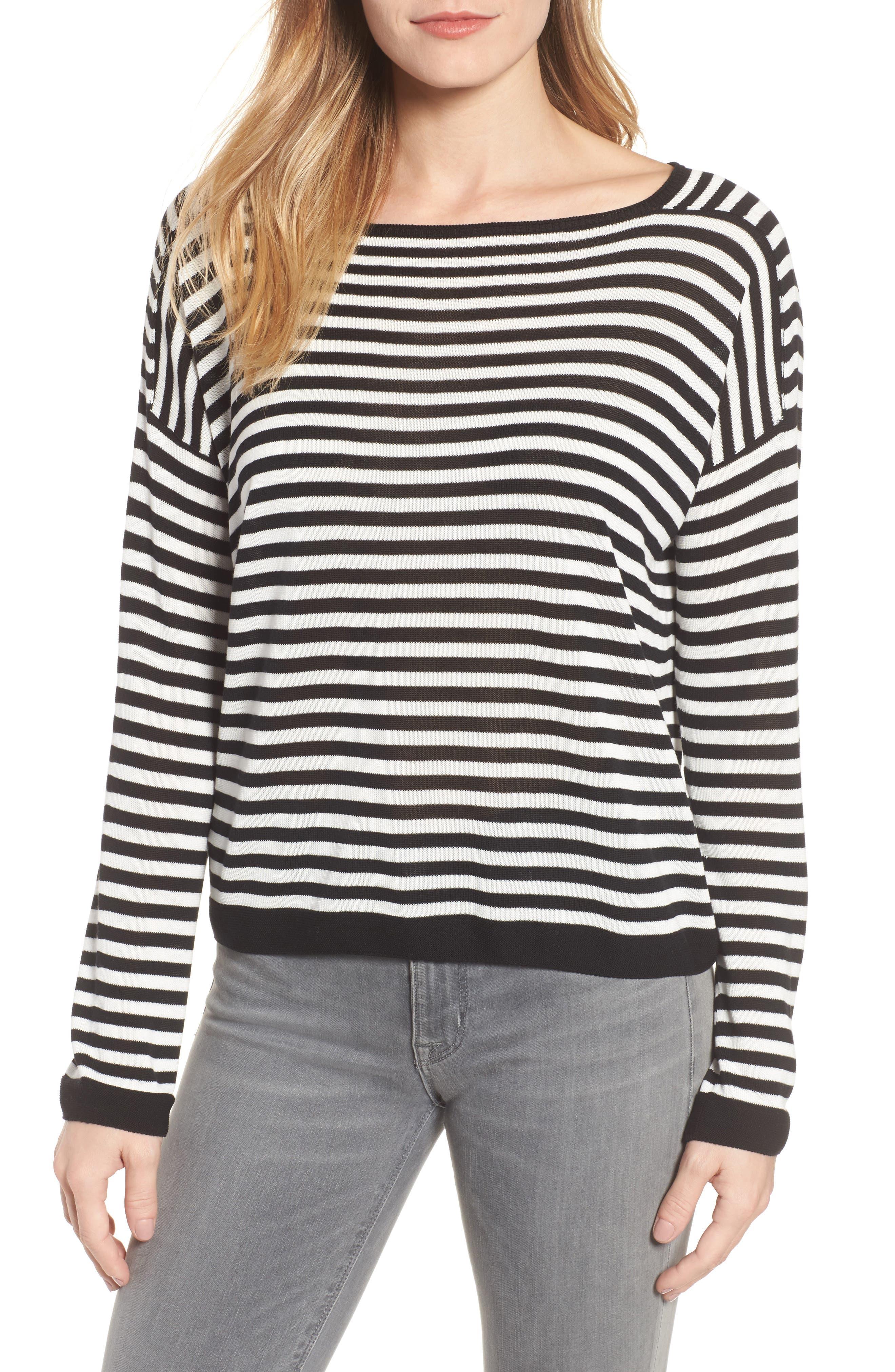 Stripe Tencel<sup>®</sup> Lyocell Knit Sweater,                             Main thumbnail 1, color,                             Black/ Soft White