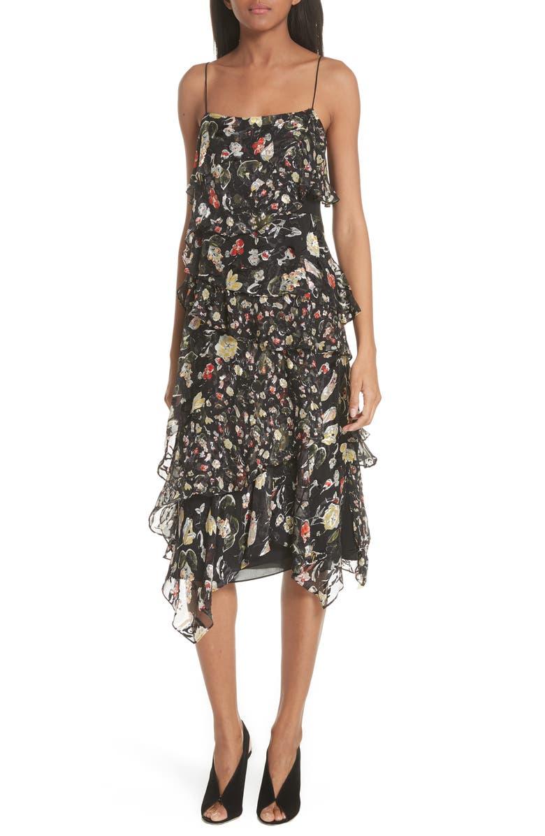 Painterly Floral Print Silk Blend Dress