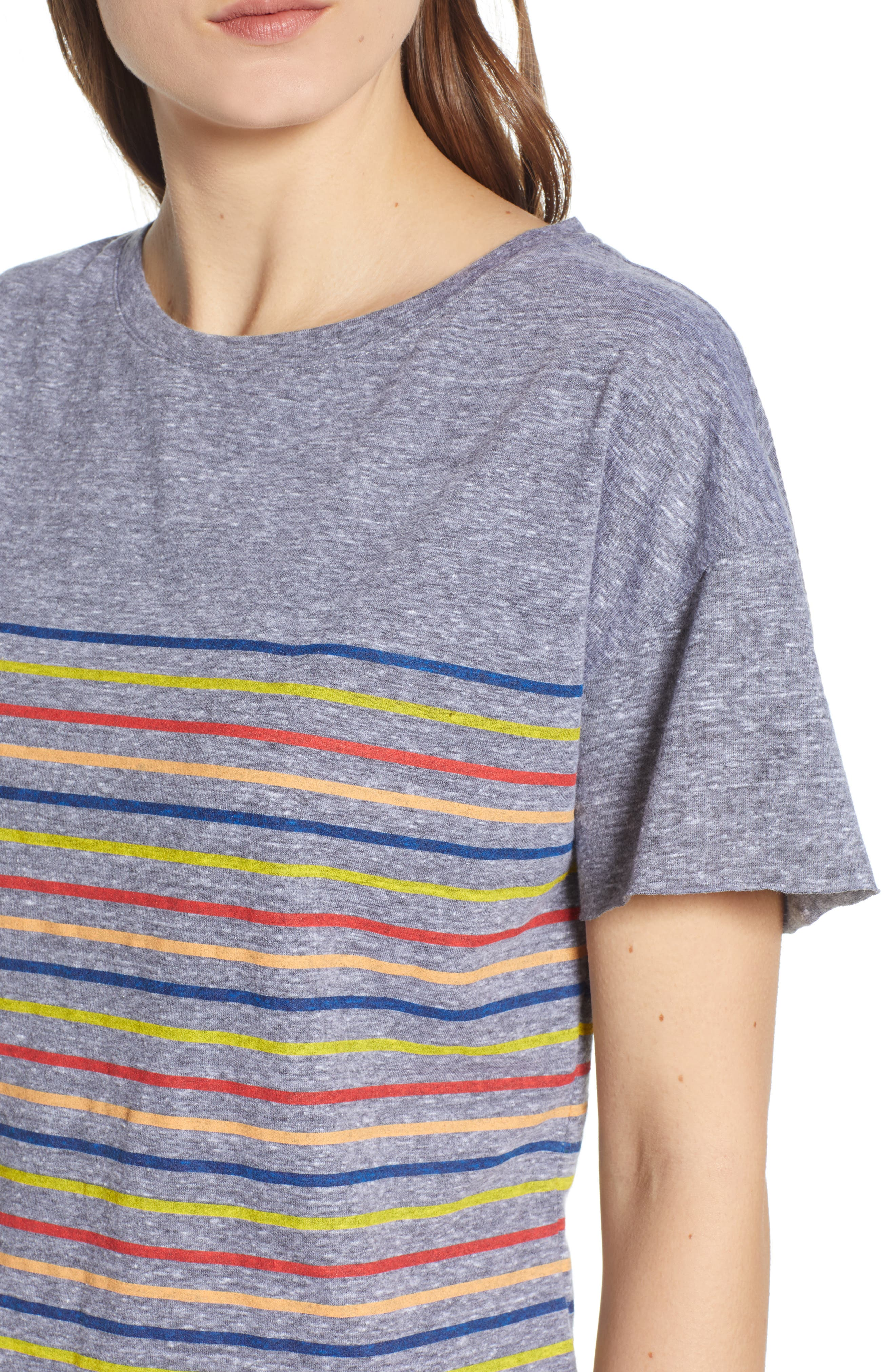 Placed Stripe Tee,                             Alternate thumbnail 4, color,                             Grey