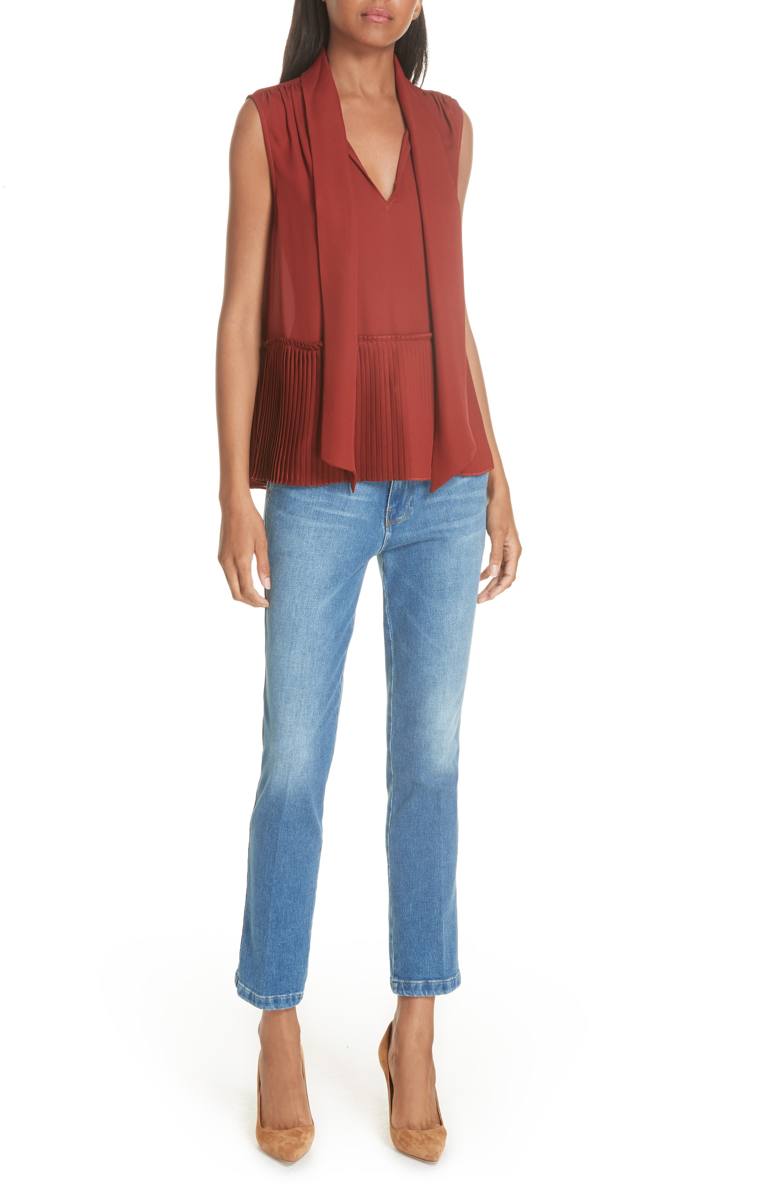 Le Slender Straight Leg Jeans,                             Alternate thumbnail 8, color,                             Thistle
