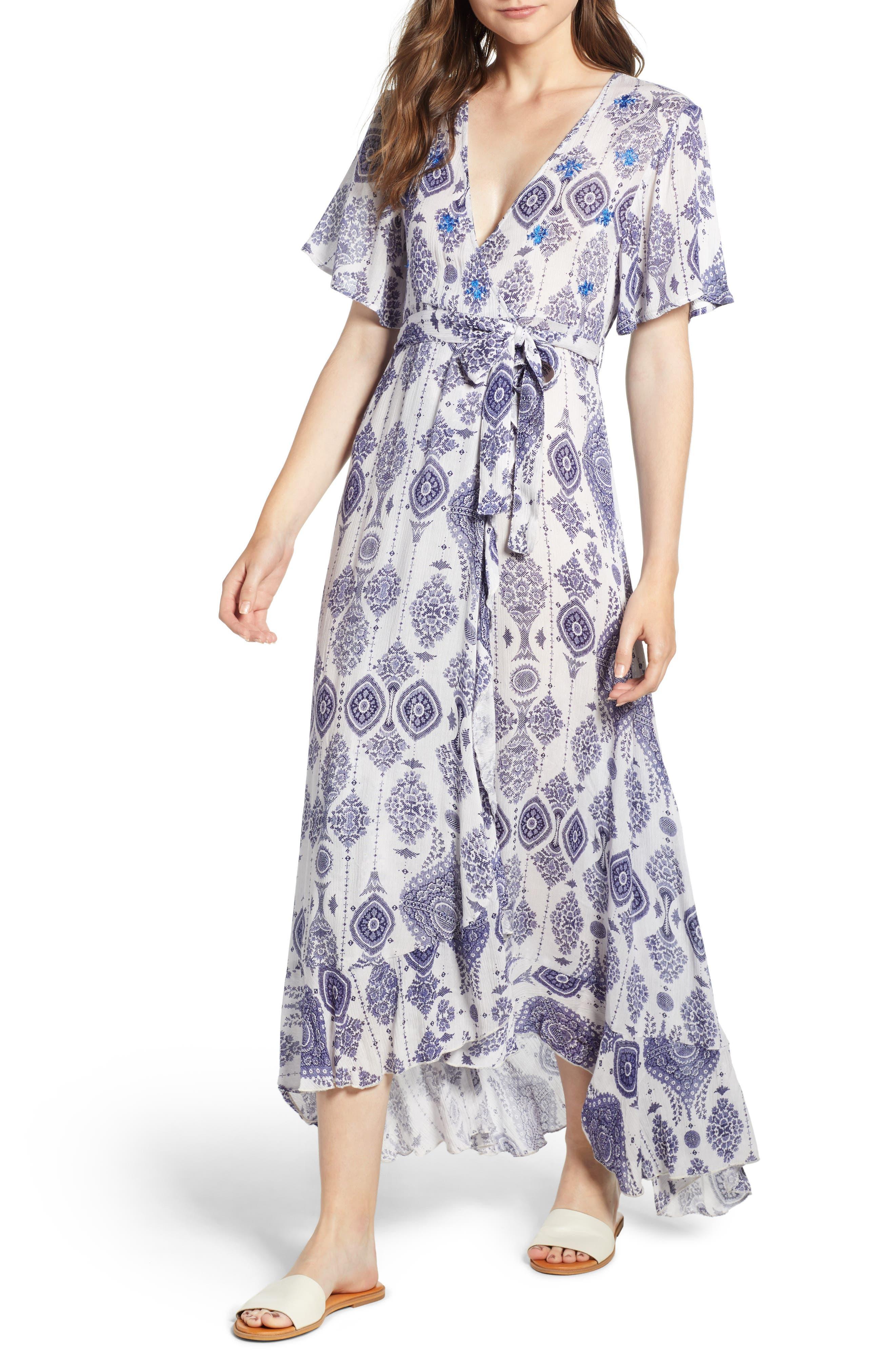 Andrea Maxi Dress,                         Main,                         color, Blue/ White