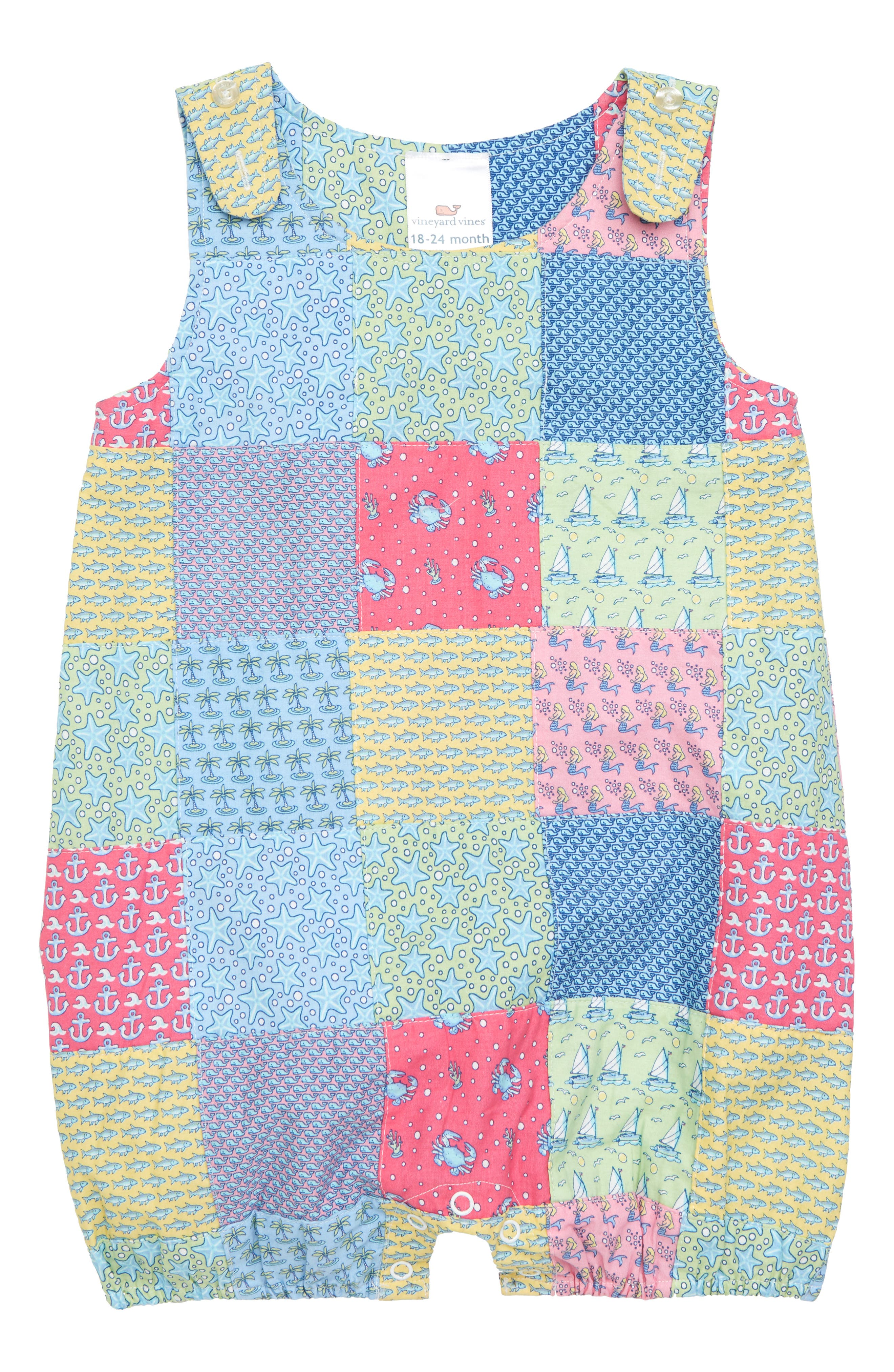 Patchwork Jon Jon Romper,                             Main thumbnail 1, color,                             Sailors Red