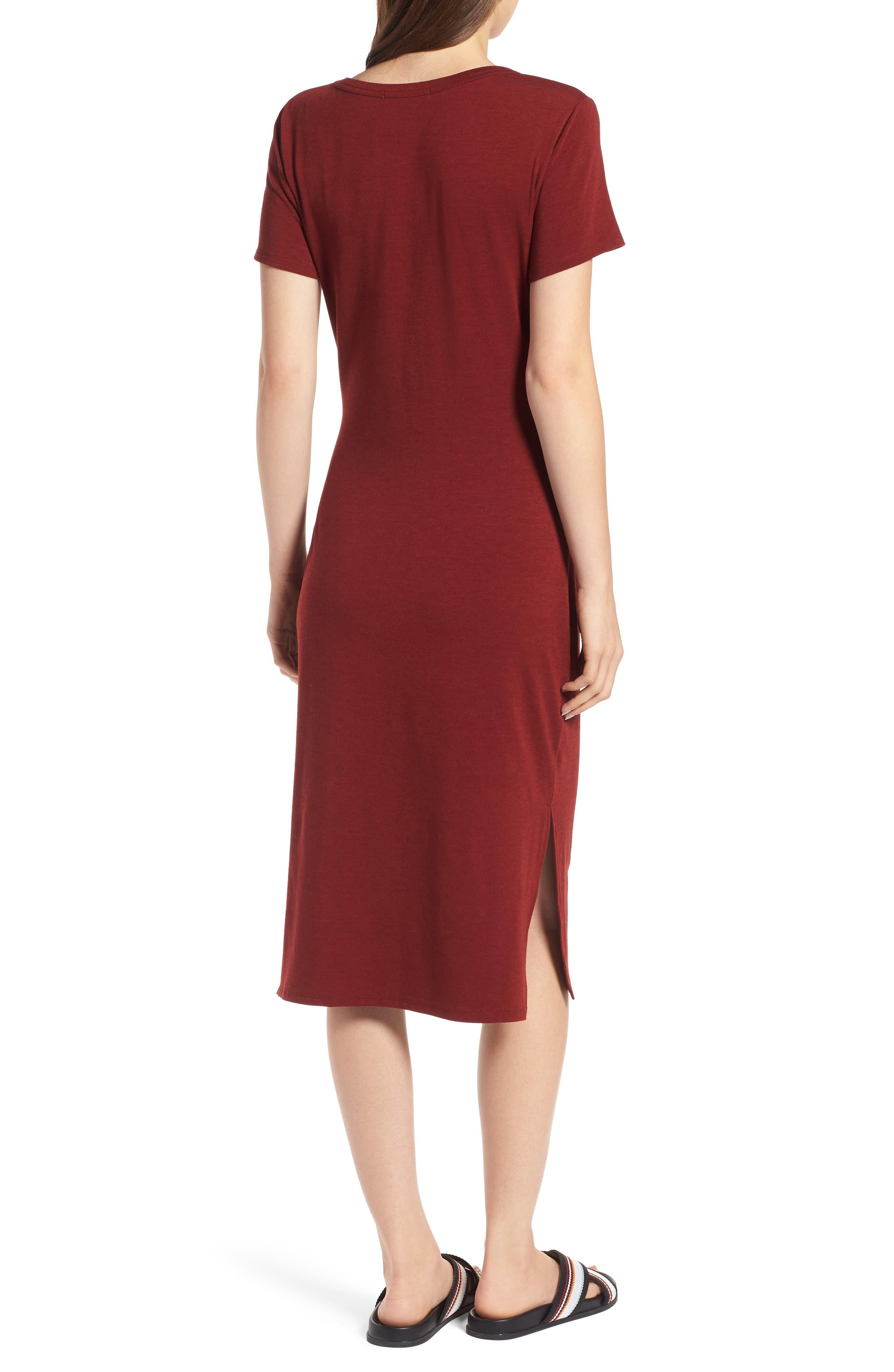 Twist Front Midi Dress,                             Alternate thumbnail 2, color,                             Red Syrah