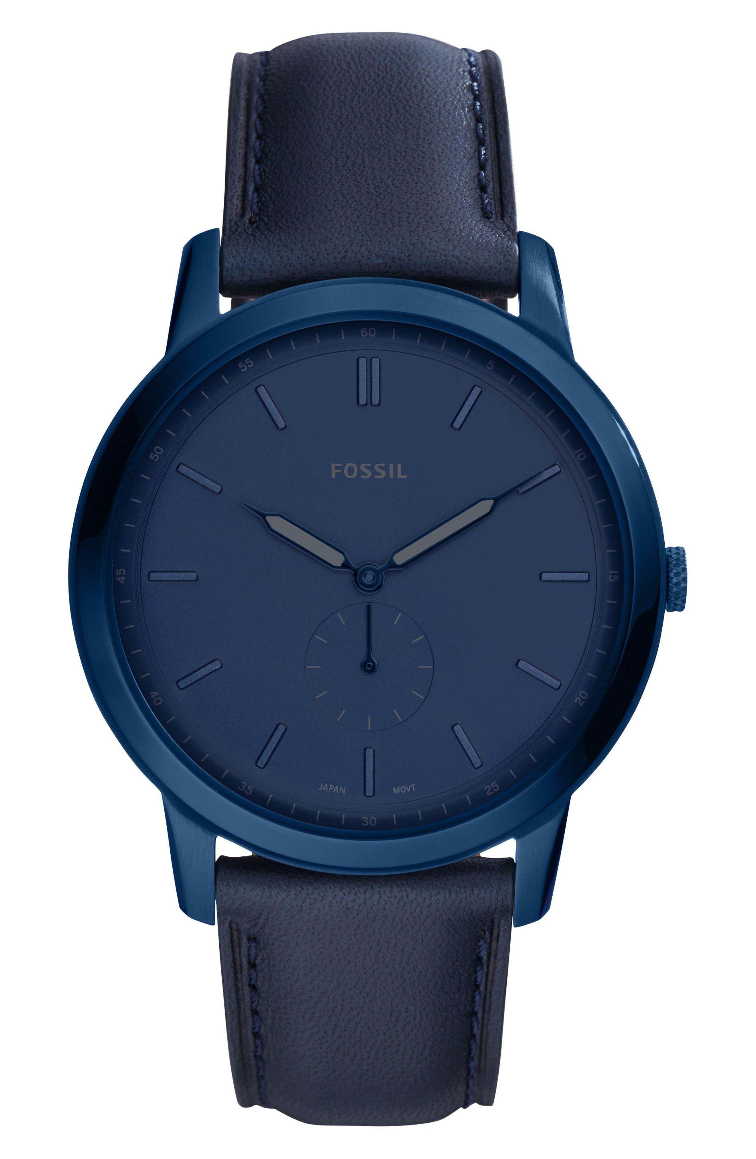 Minimalist Leather Strap Watch, 44mm,                             Main thumbnail 1, color,                             Blue/ Blue/ Blue