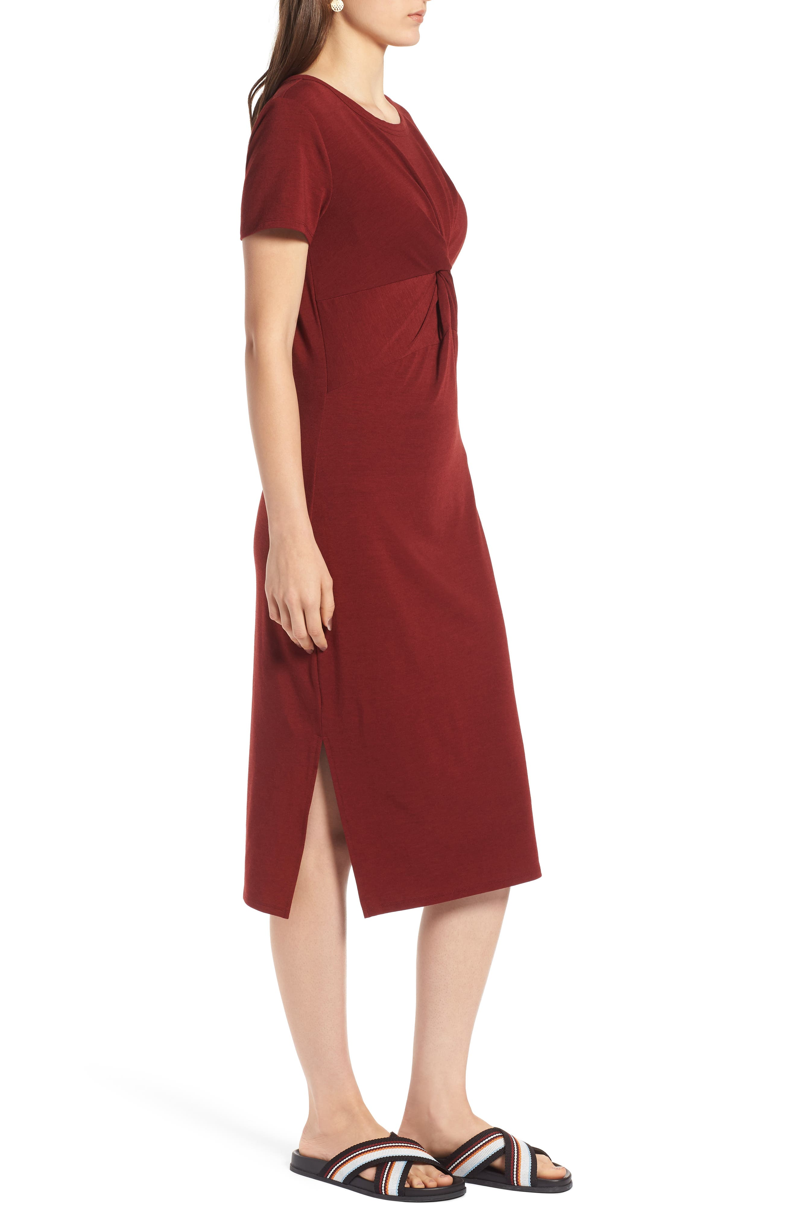Twist Front Midi Dress,                             Alternate thumbnail 3, color,                             Red Syrah