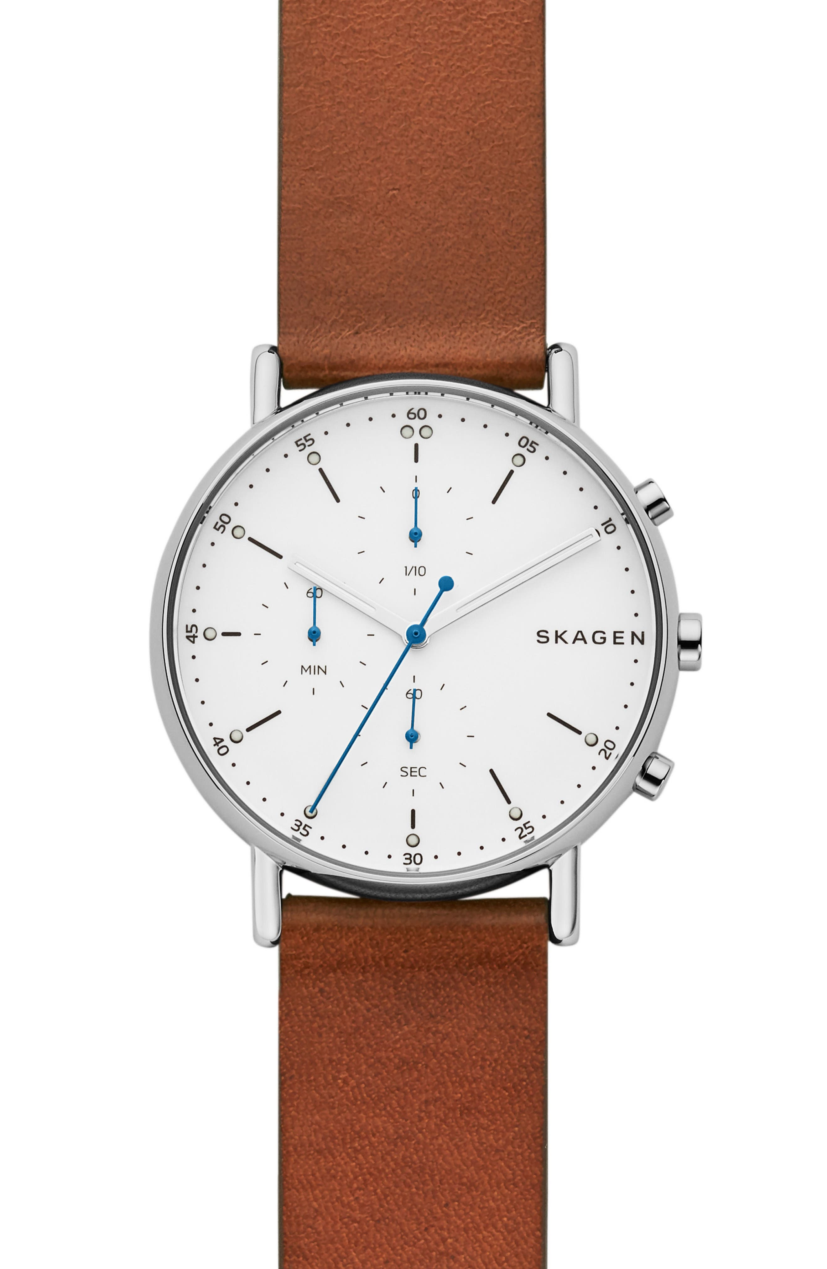 Signature Leather Watch, 40mm,                             Main thumbnail 1, color,                             Brown/ White/ Silver