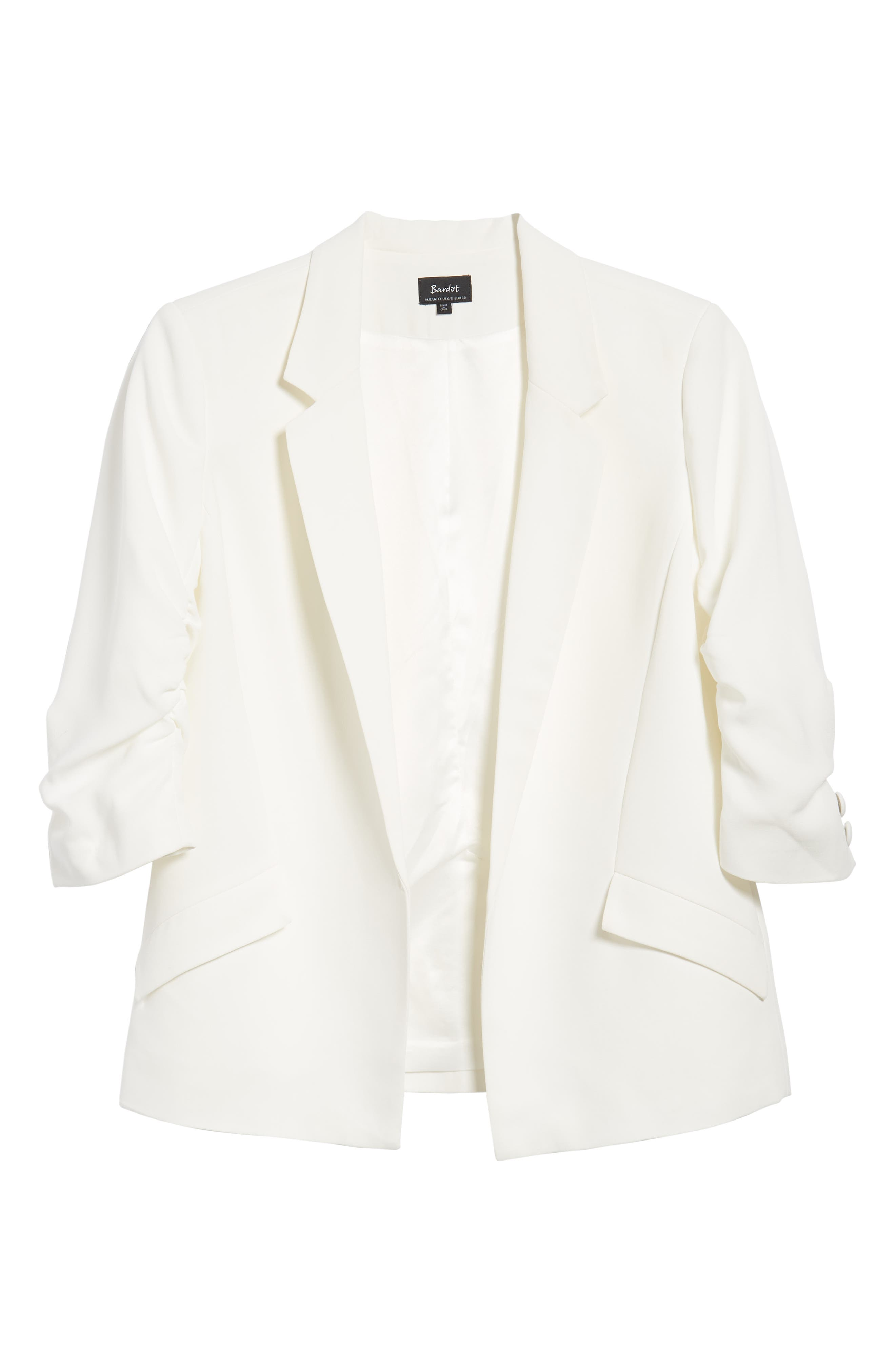 Ruched Sleeve Blazer,                             Alternate thumbnail 6, color,                             White