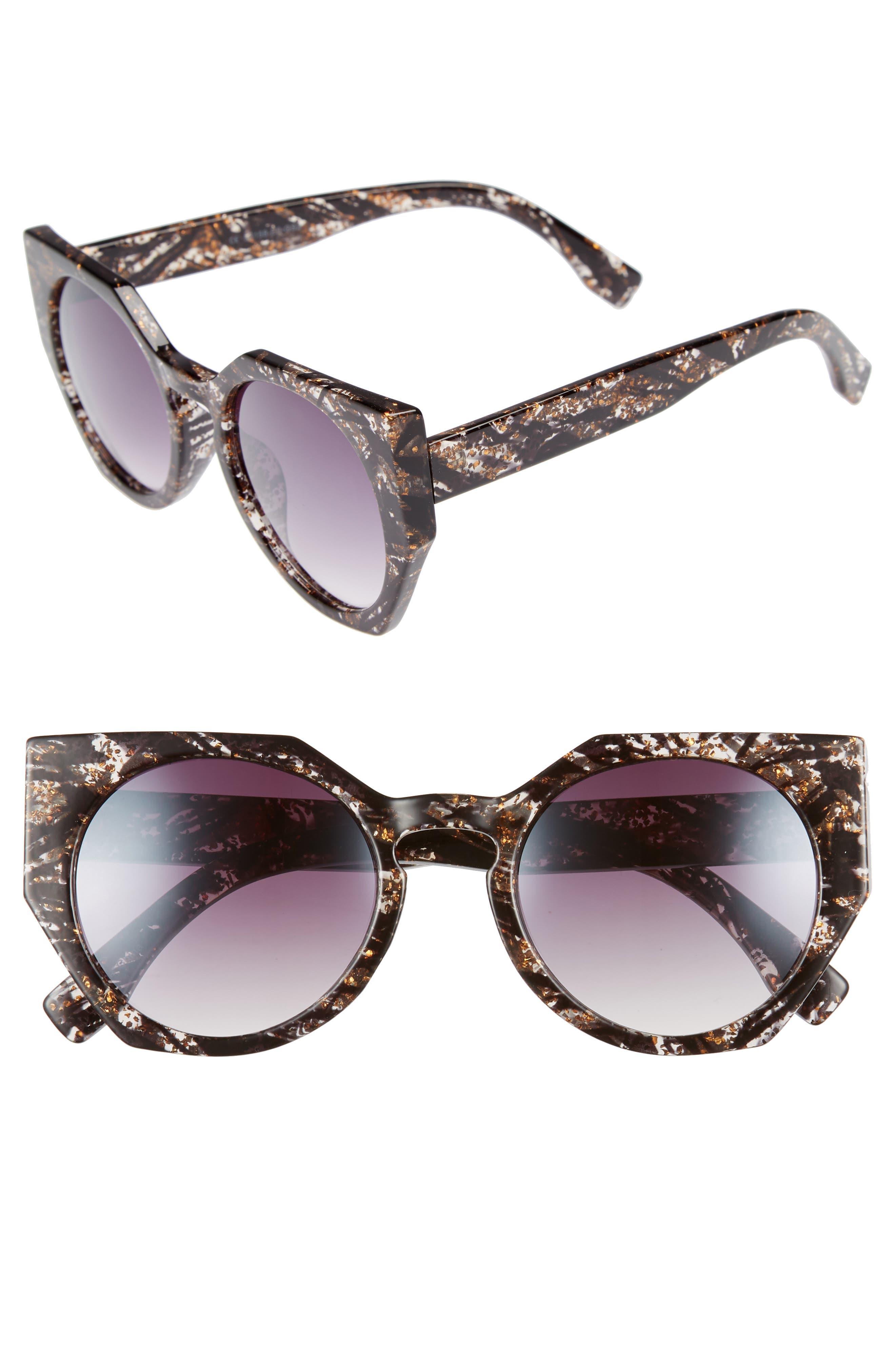 50mm Geometric Sunglasses,                             Main thumbnail 1, color,                             Black/ Gold