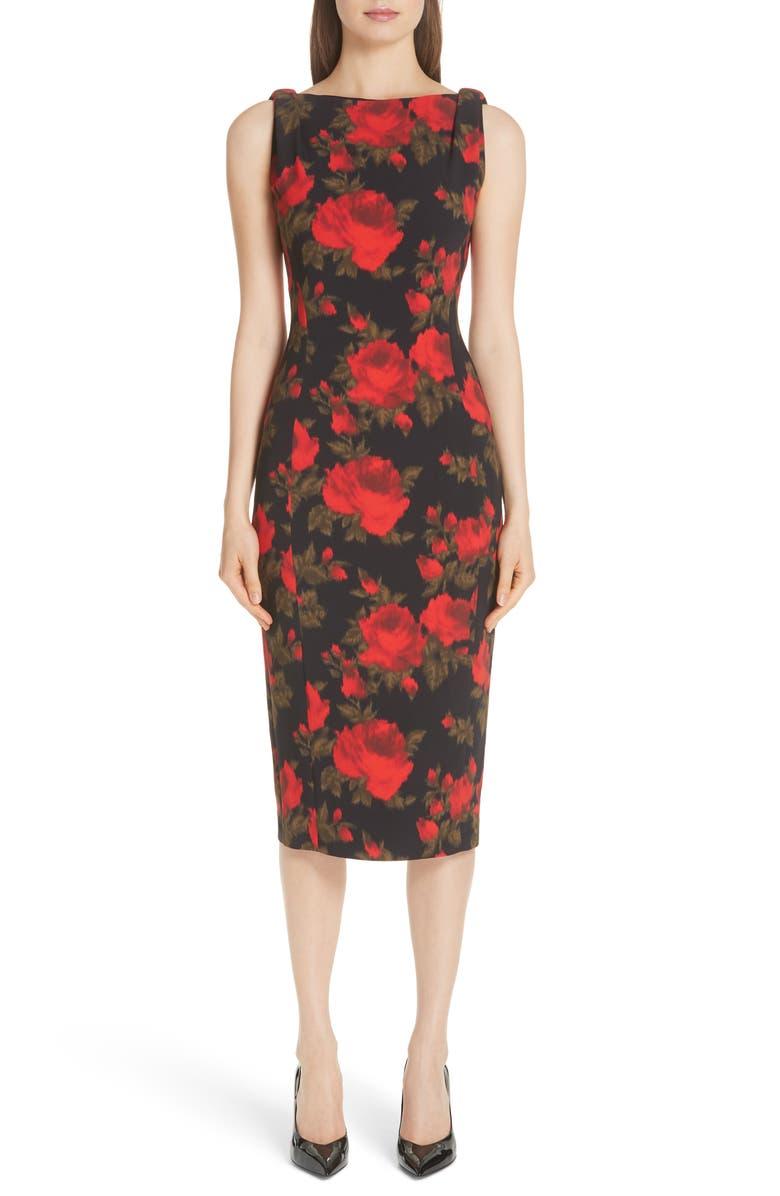 Rose Print Sheath Dress