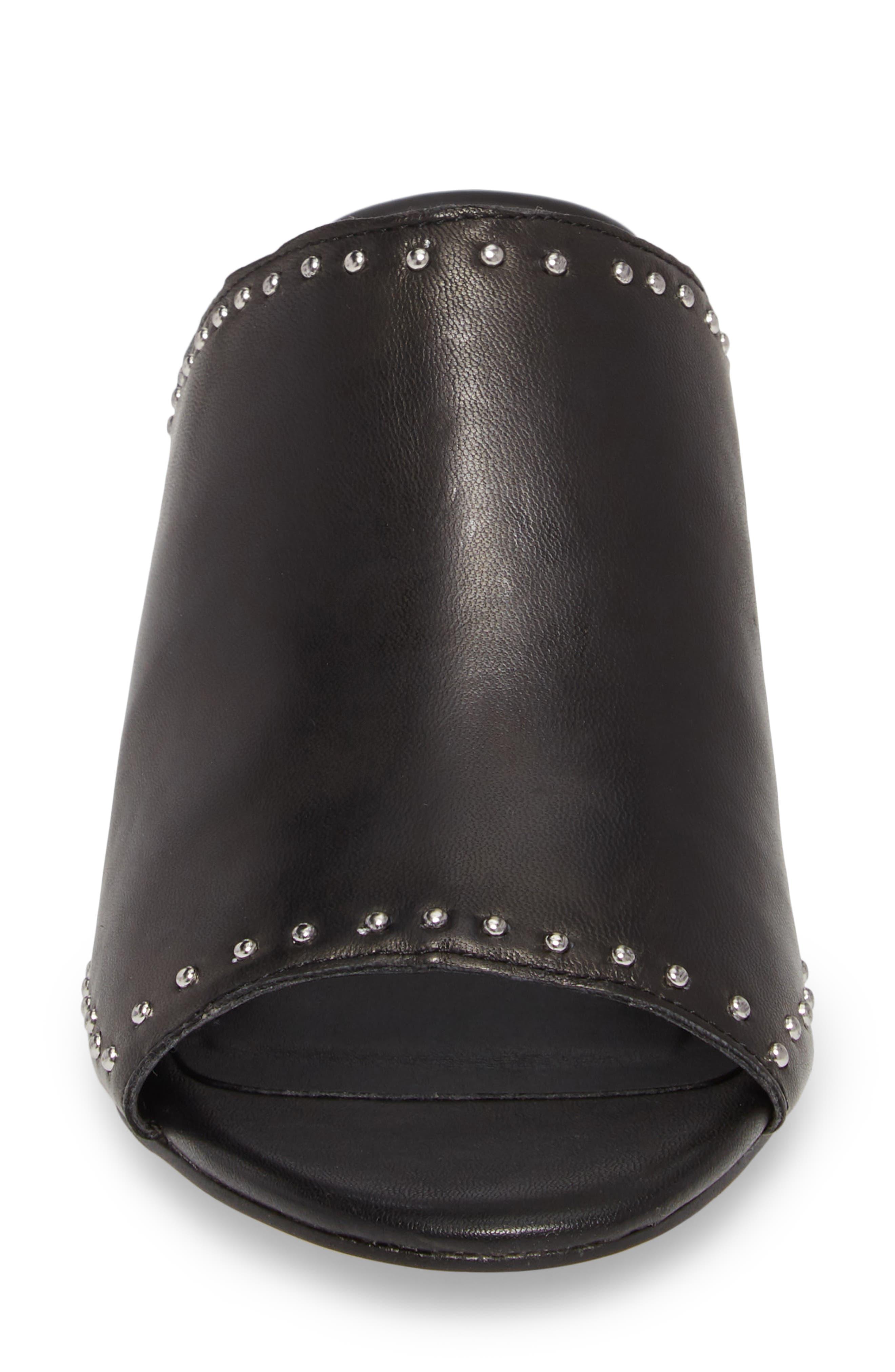 Lainy Studded Mule,                             Alternate thumbnail 4, color,                             Black Leather