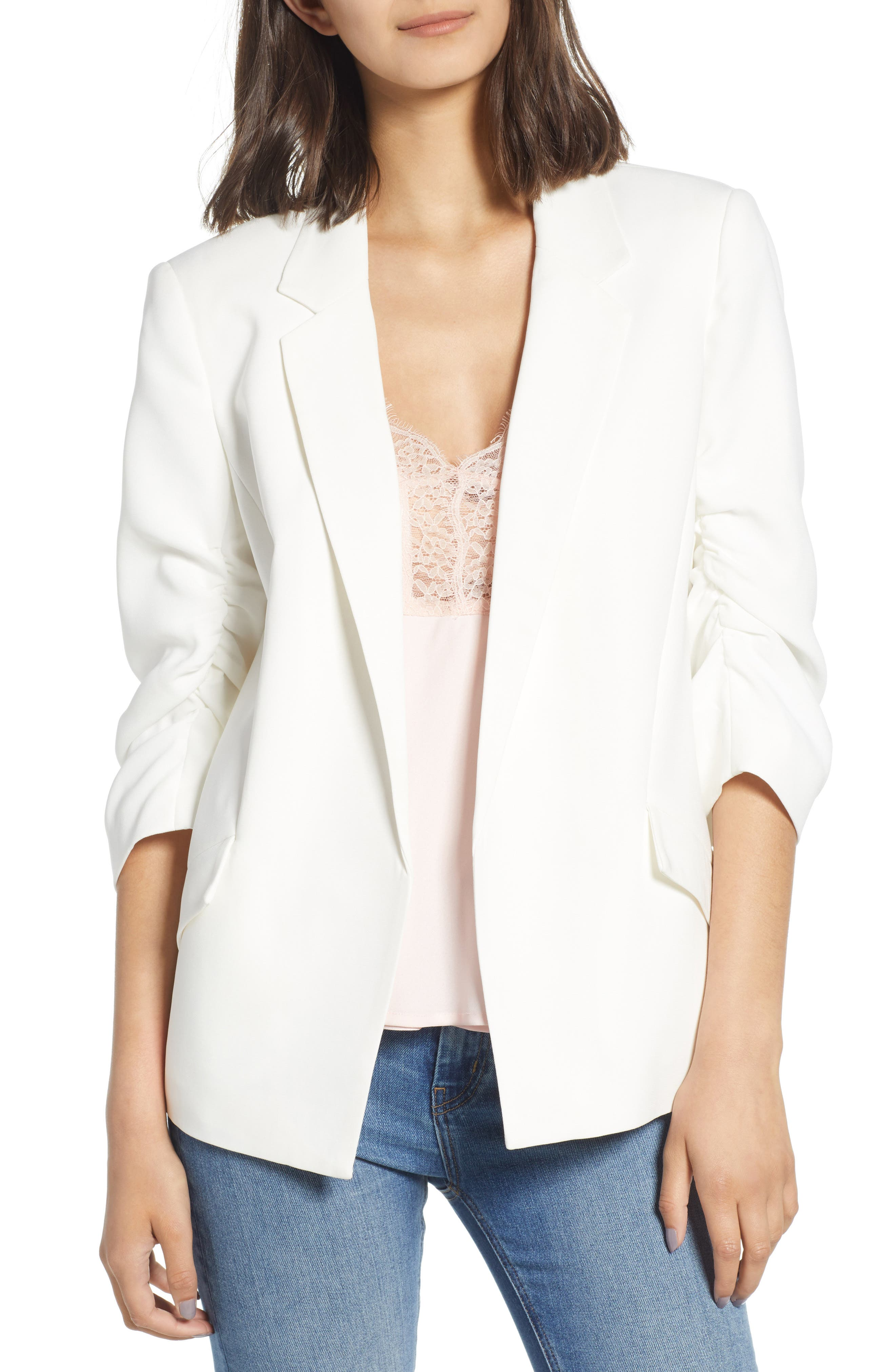 Ruched Sleeve Blazer,                         Main,                         color, White