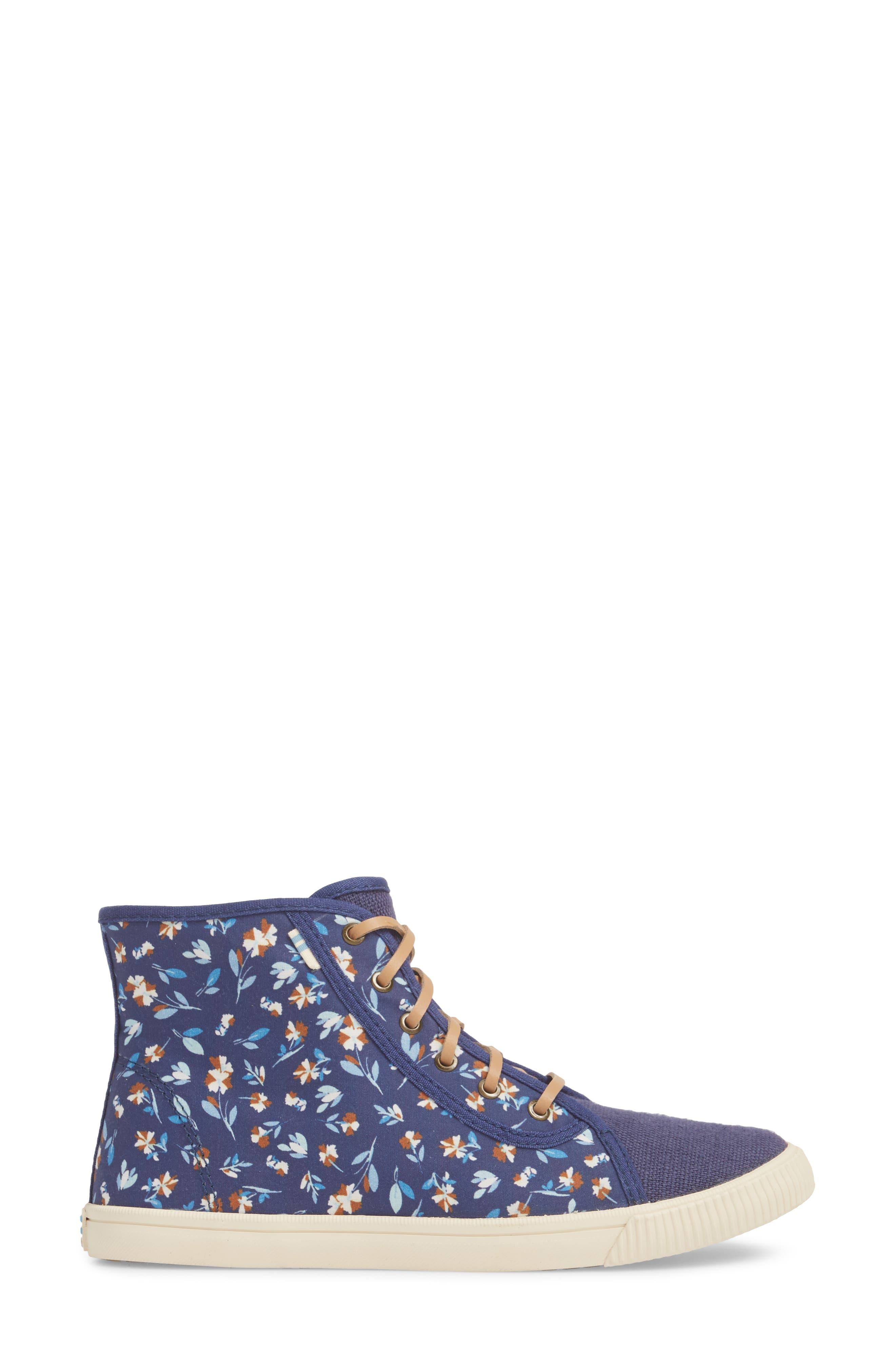 Camarillo High Top Sneaker,                             Alternate thumbnail 3, color,                             Deep Blue Vintage Flower