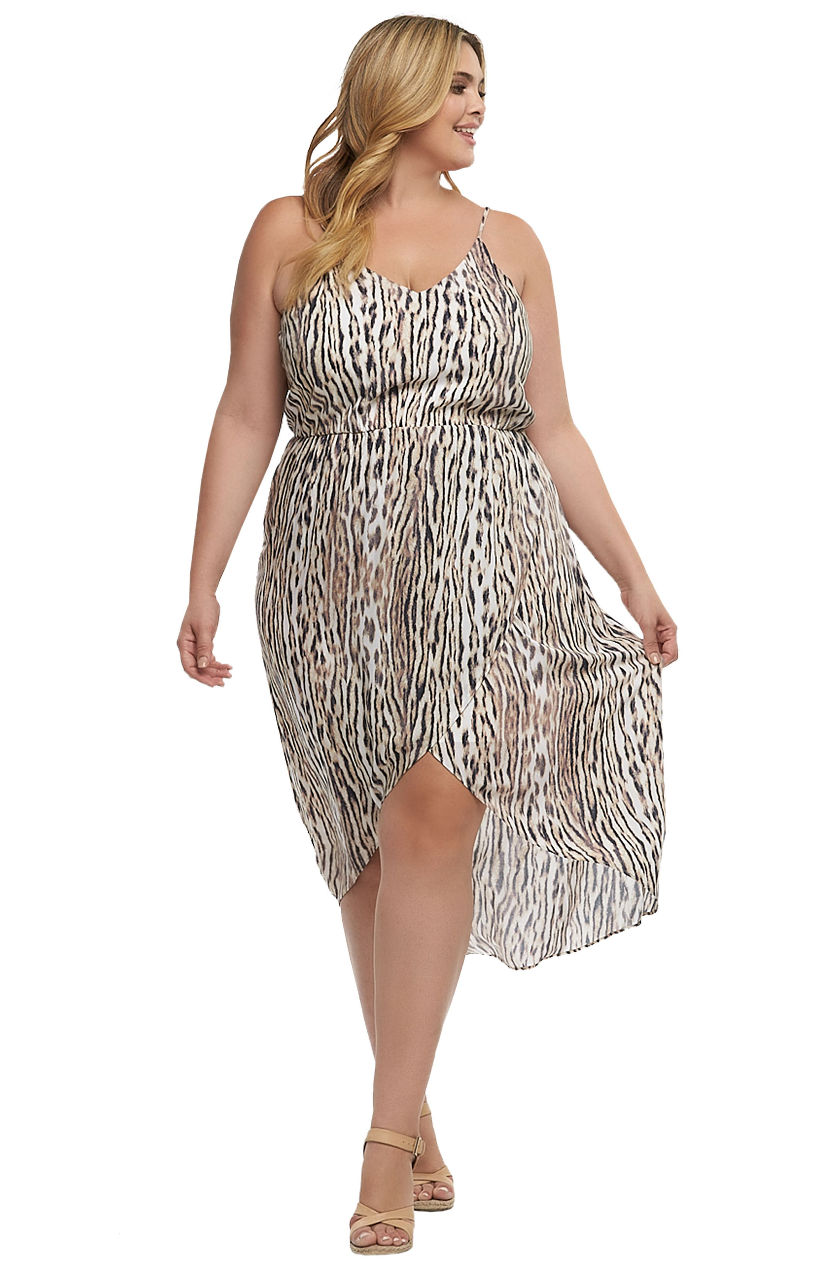 Josefa Faux Wrap Dress,                             Alternate thumbnail 3, color,                             Ocelot