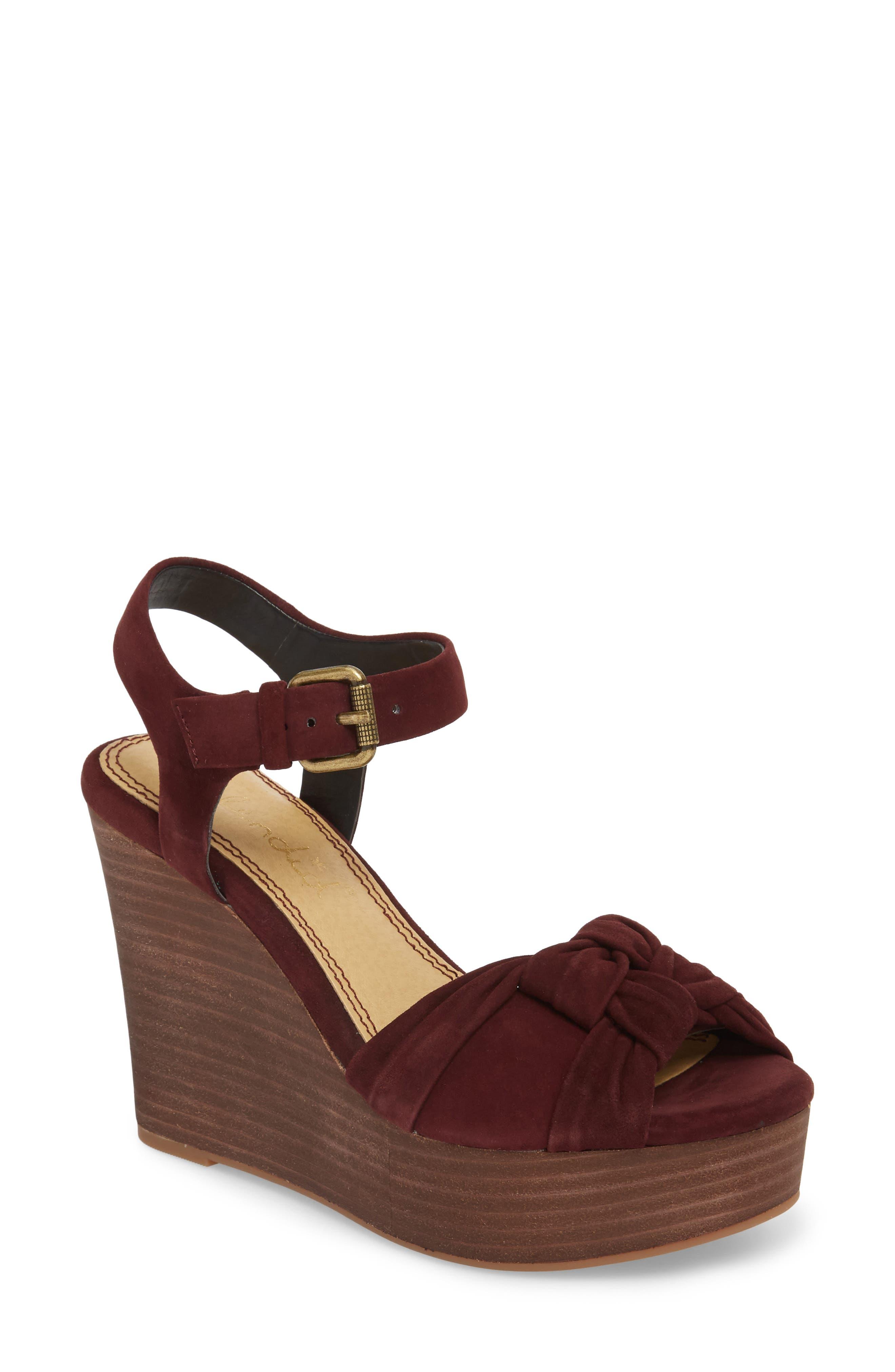 Nada Platform Wedge Sandal,                             Main thumbnail 1, color,                             Deep Plum Suede