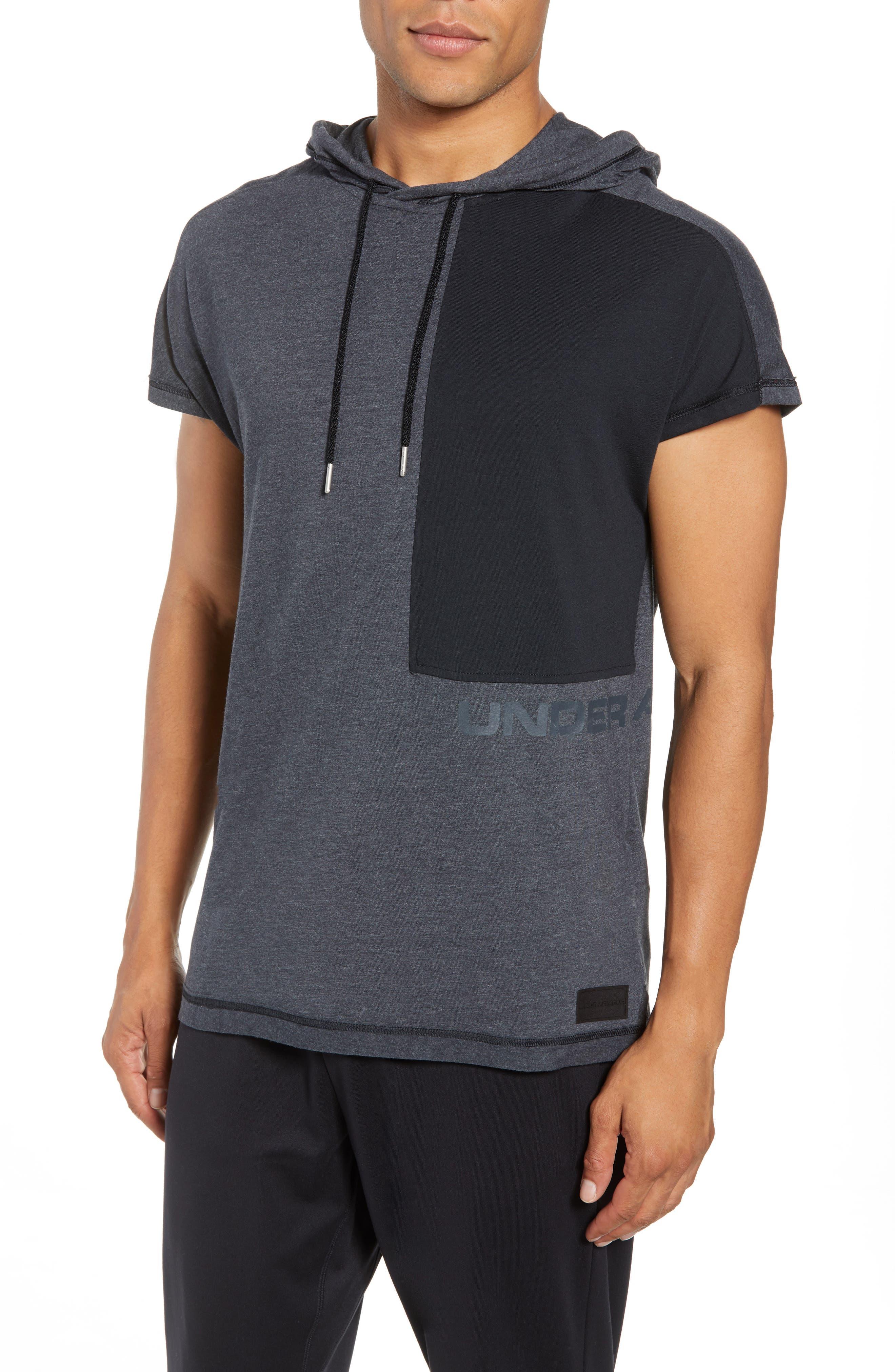 Pursuit Short Sleeve Hoodie,                         Main,                         color, Black/ Black/ Stealth Gray