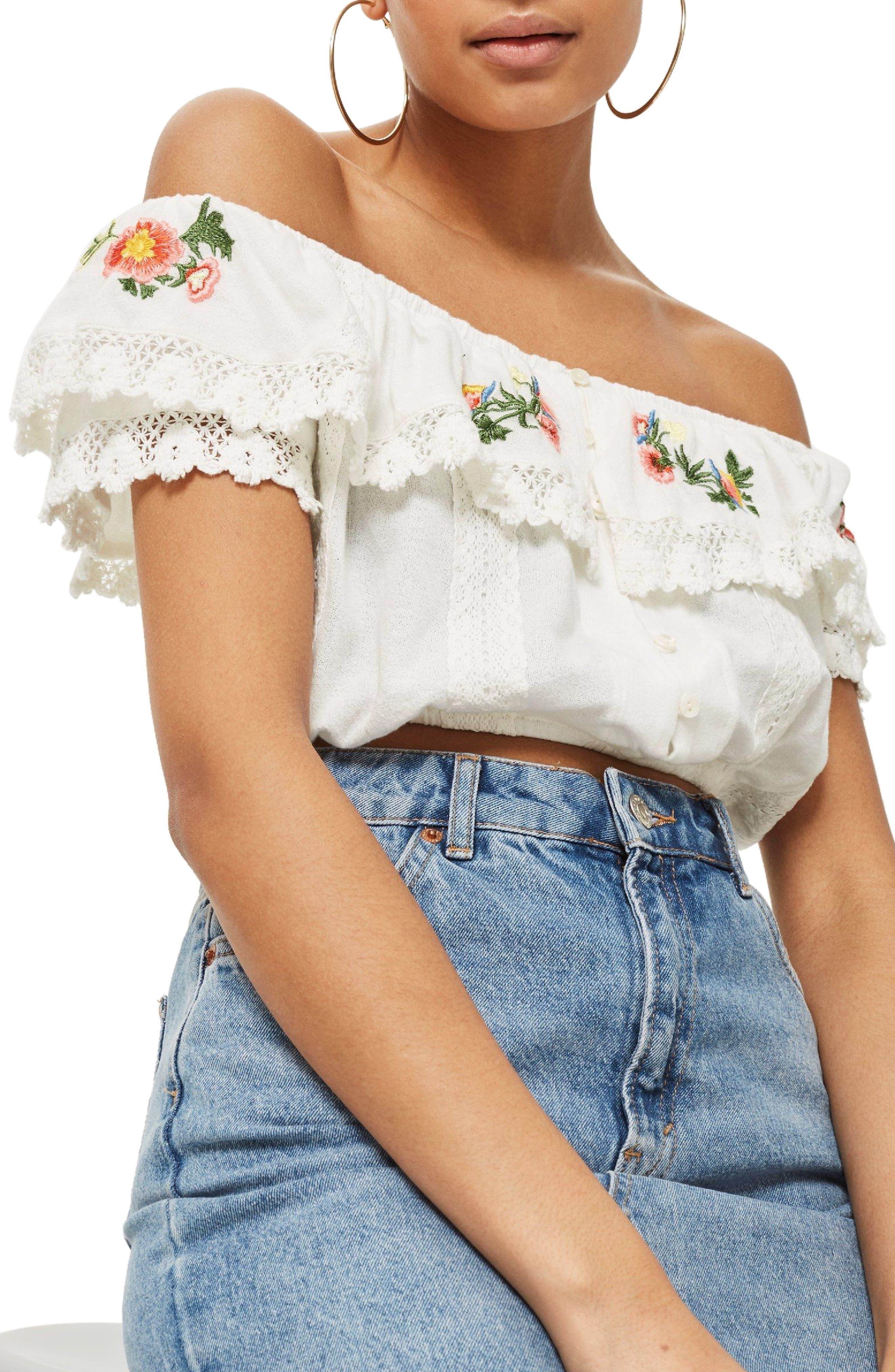 Embroidered Lace Bardot Top,                         Main,                         color, White Multi
