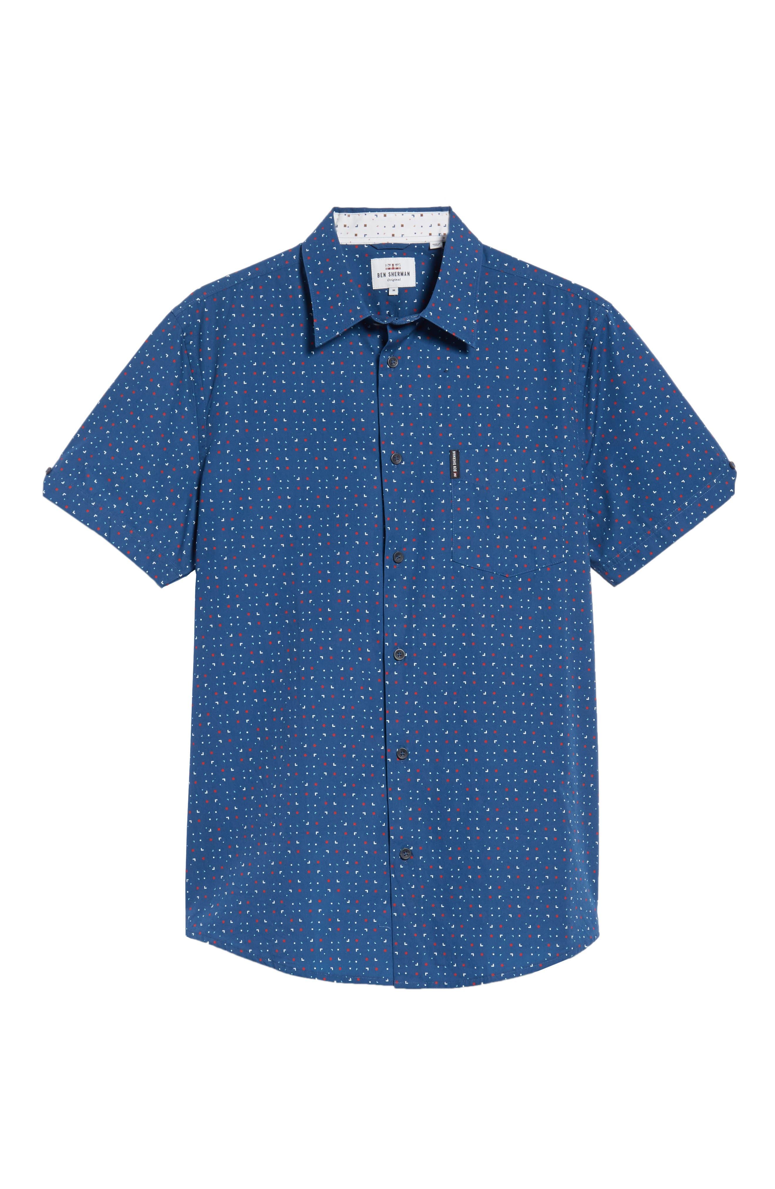 Scattered Geo Woven Shirt,                             Alternate thumbnail 6, color,                             Blue