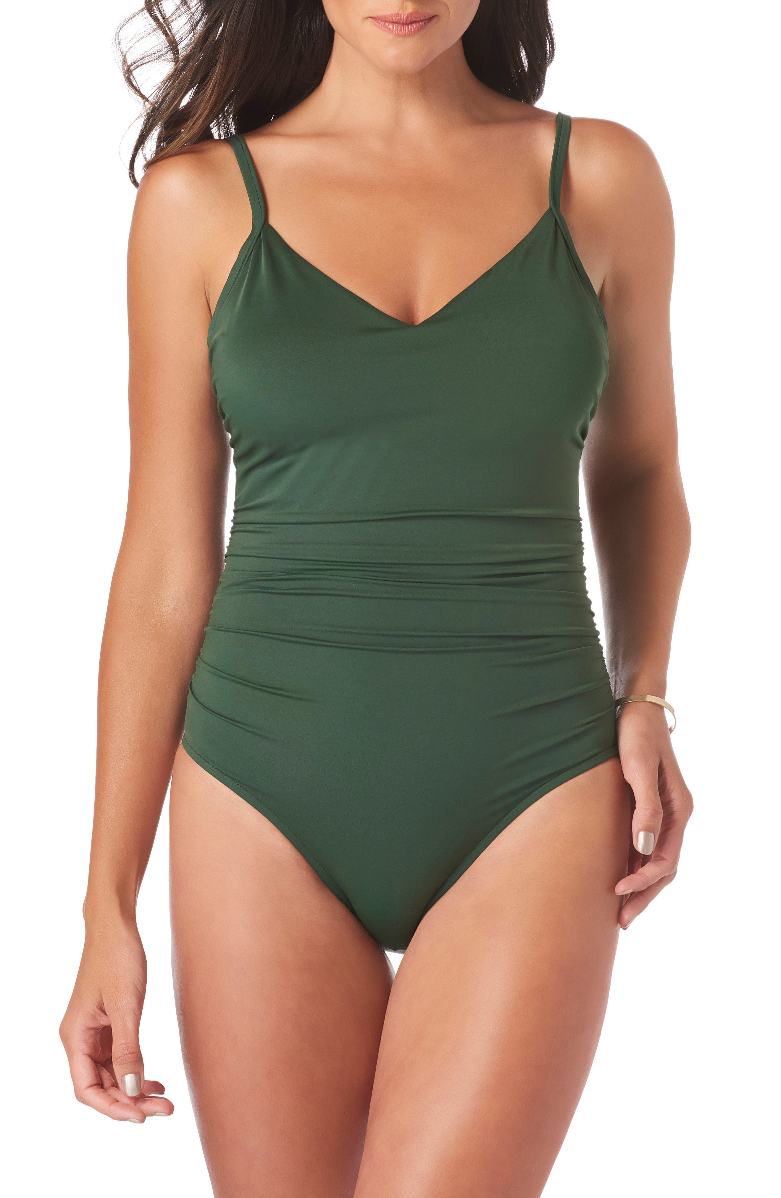 Mikki Solid One Piece Swimsuit,                         Main,                         color, Moss