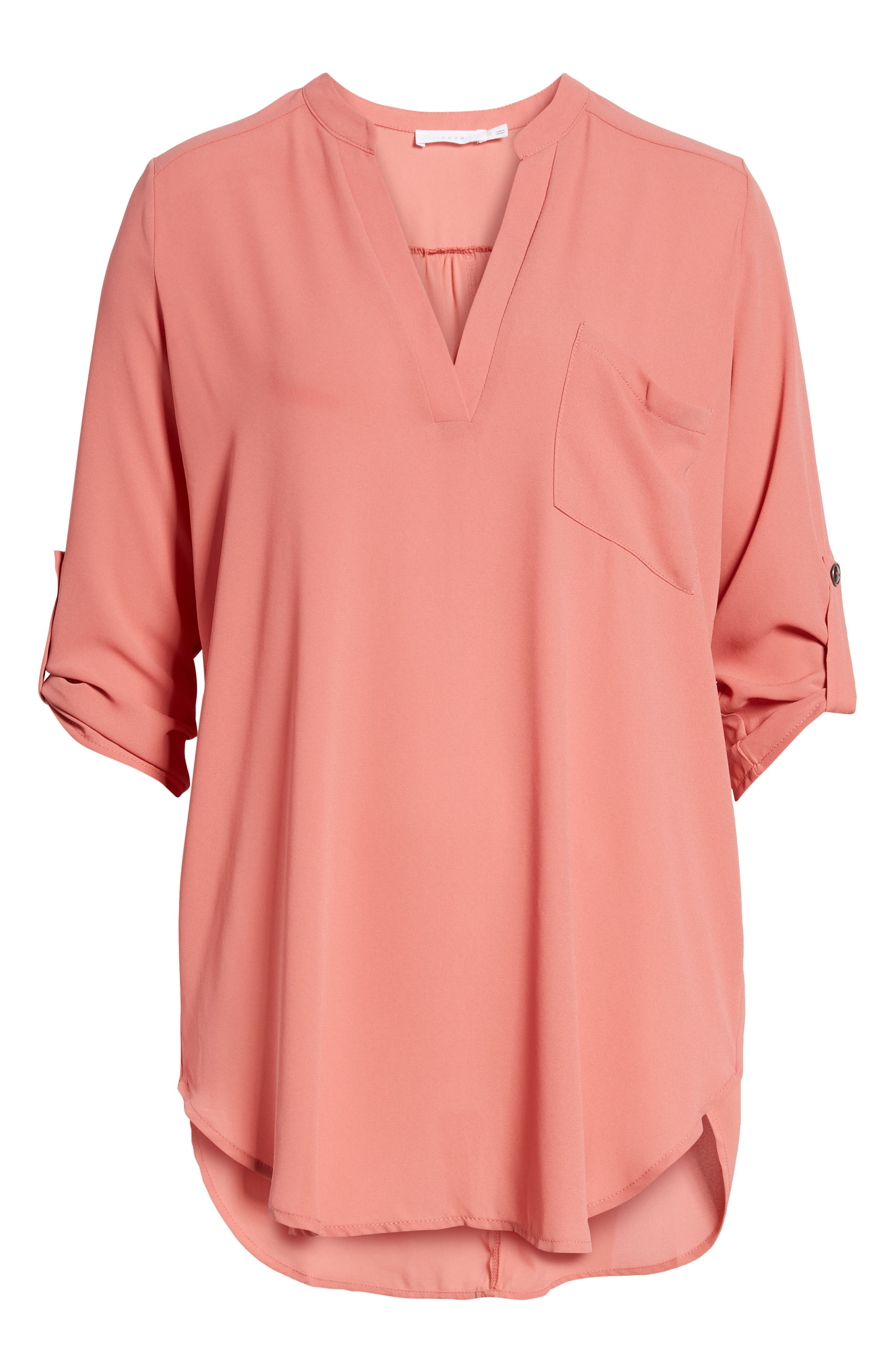 Perfect Roll Tab Sleeve Tunic,                         Main,                         color, Pink