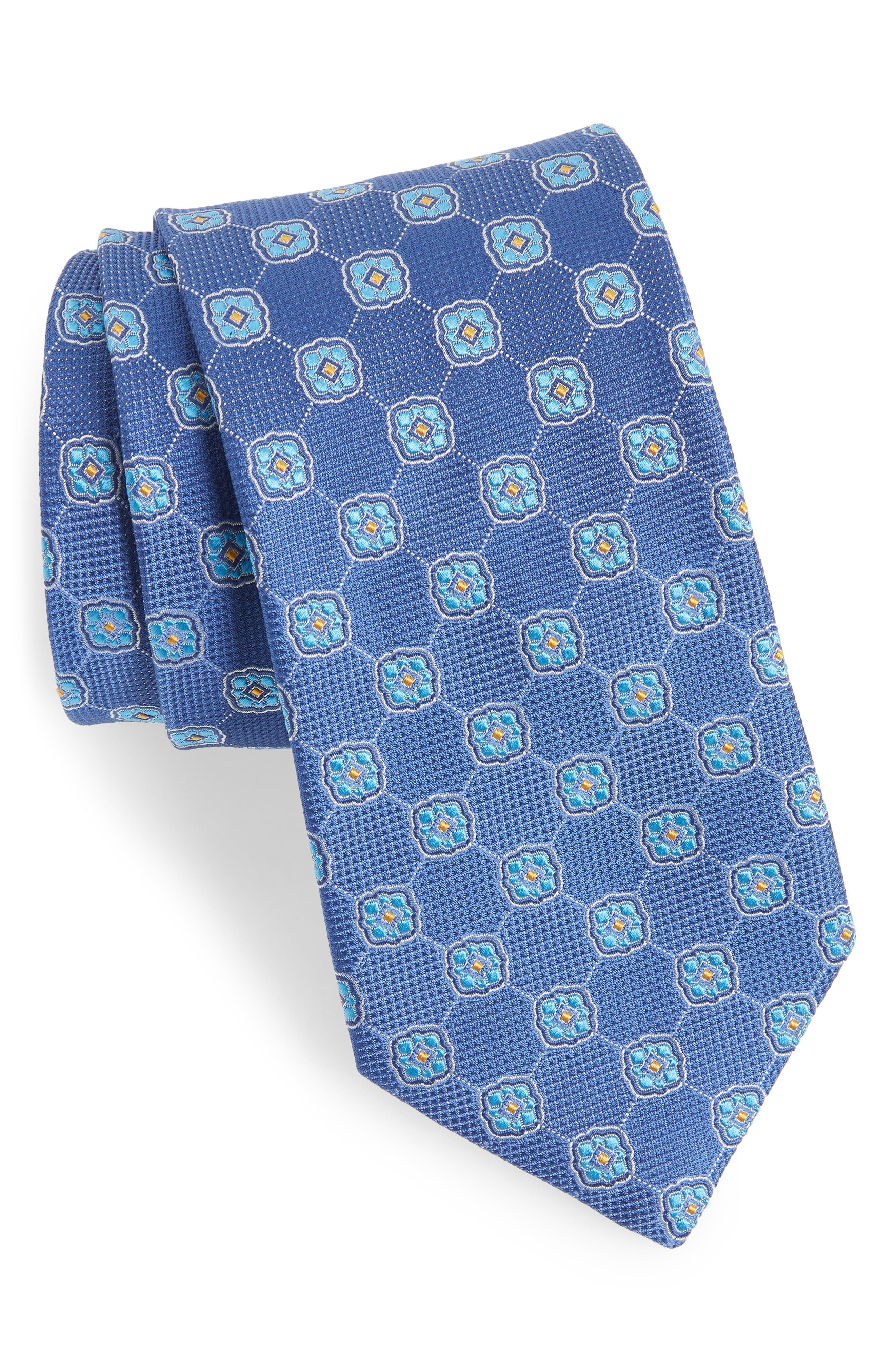 Geometric Medallion Silk Tie,                             Main thumbnail 1, color,                             Blue