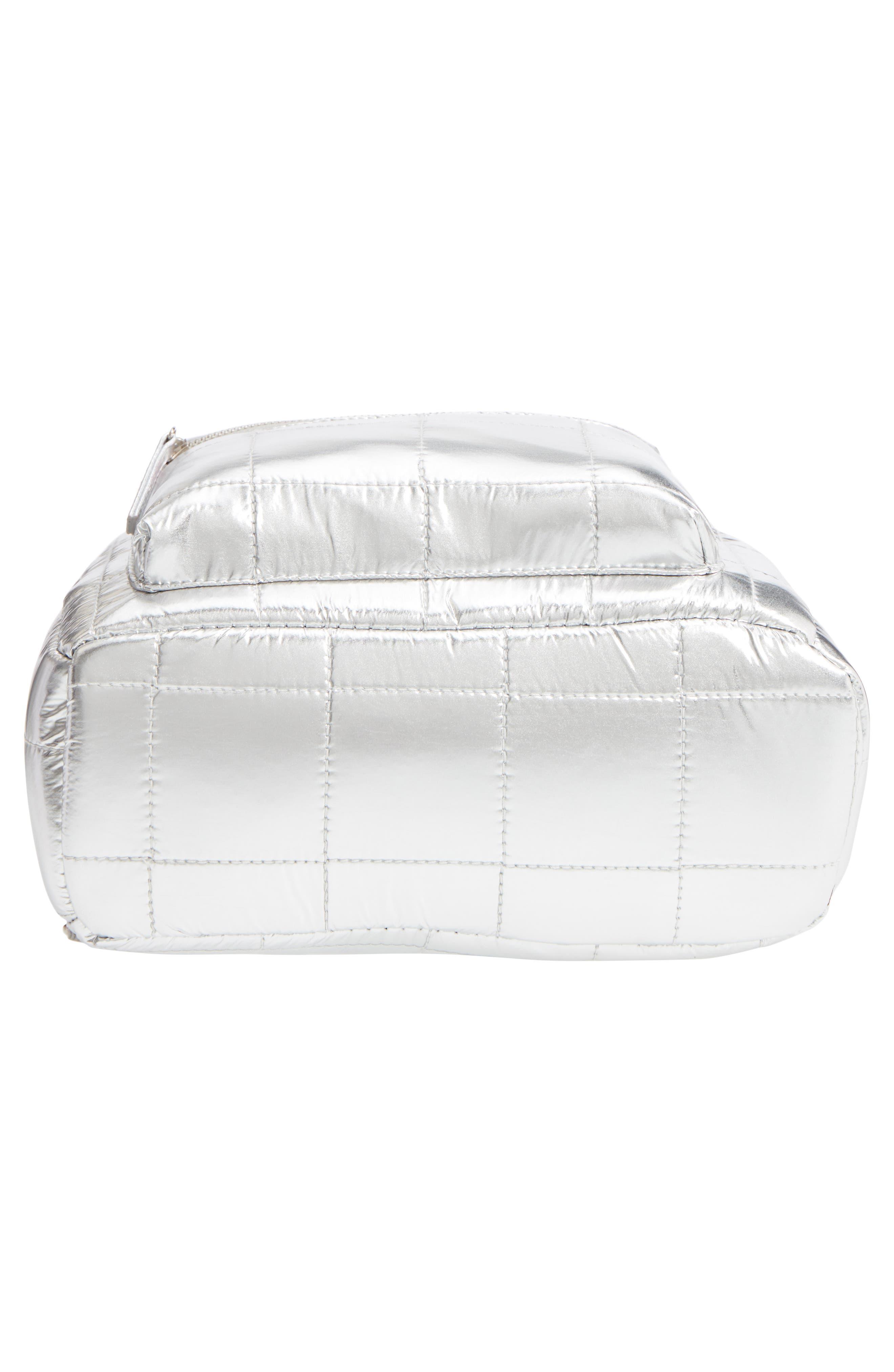 Mini Metallic Puffer Backpack,                             Alternate thumbnail 3, color,                             Silver