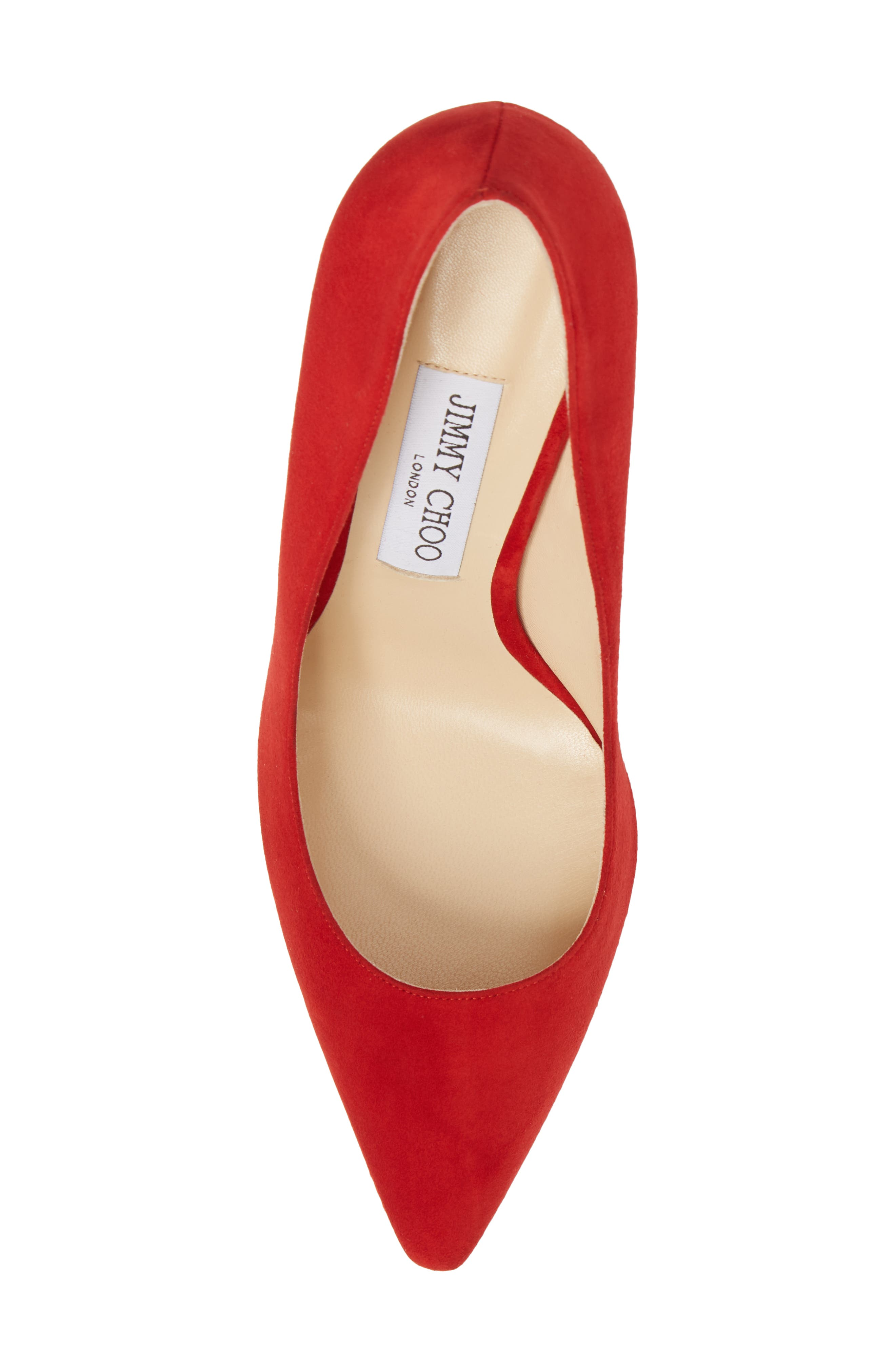 'Romy' Pointy Toe Pump,                             Alternate thumbnail 5, color,                             Red Suede