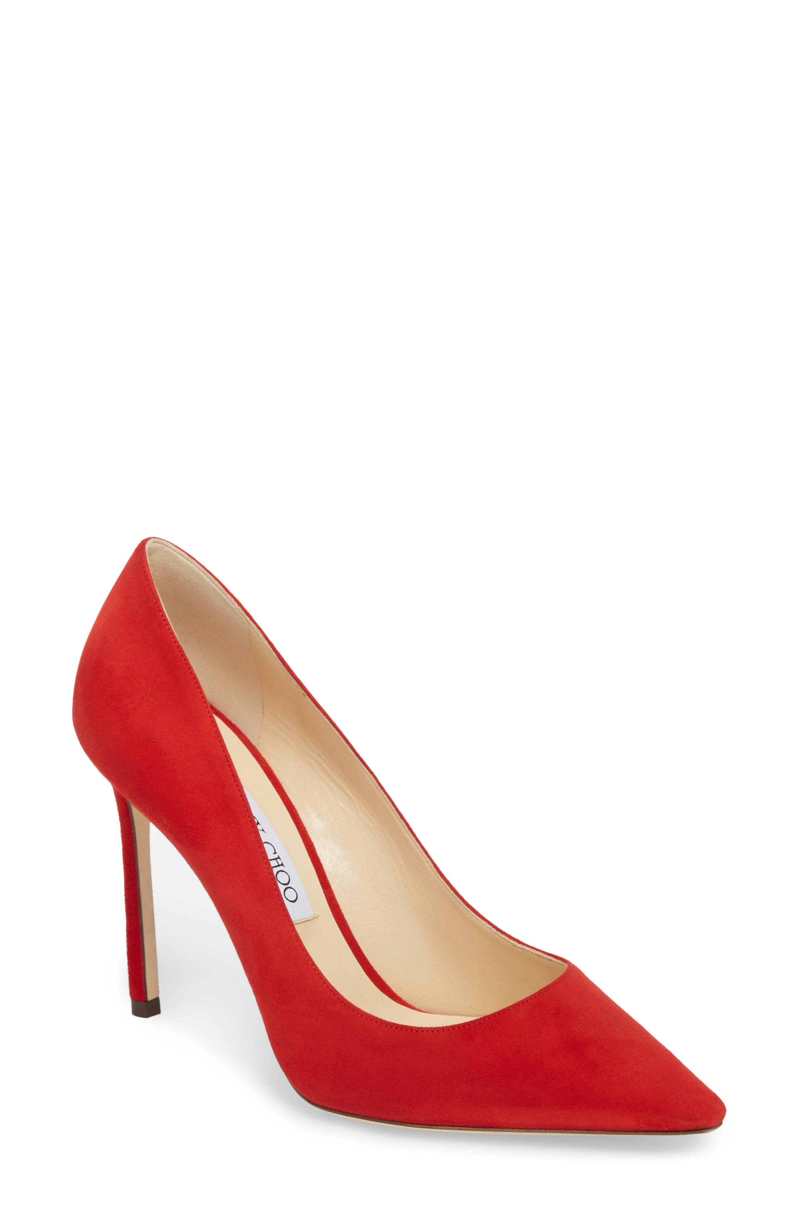 'Romy' Pointy Toe Pump,                             Main thumbnail 1, color,                             Red Suede