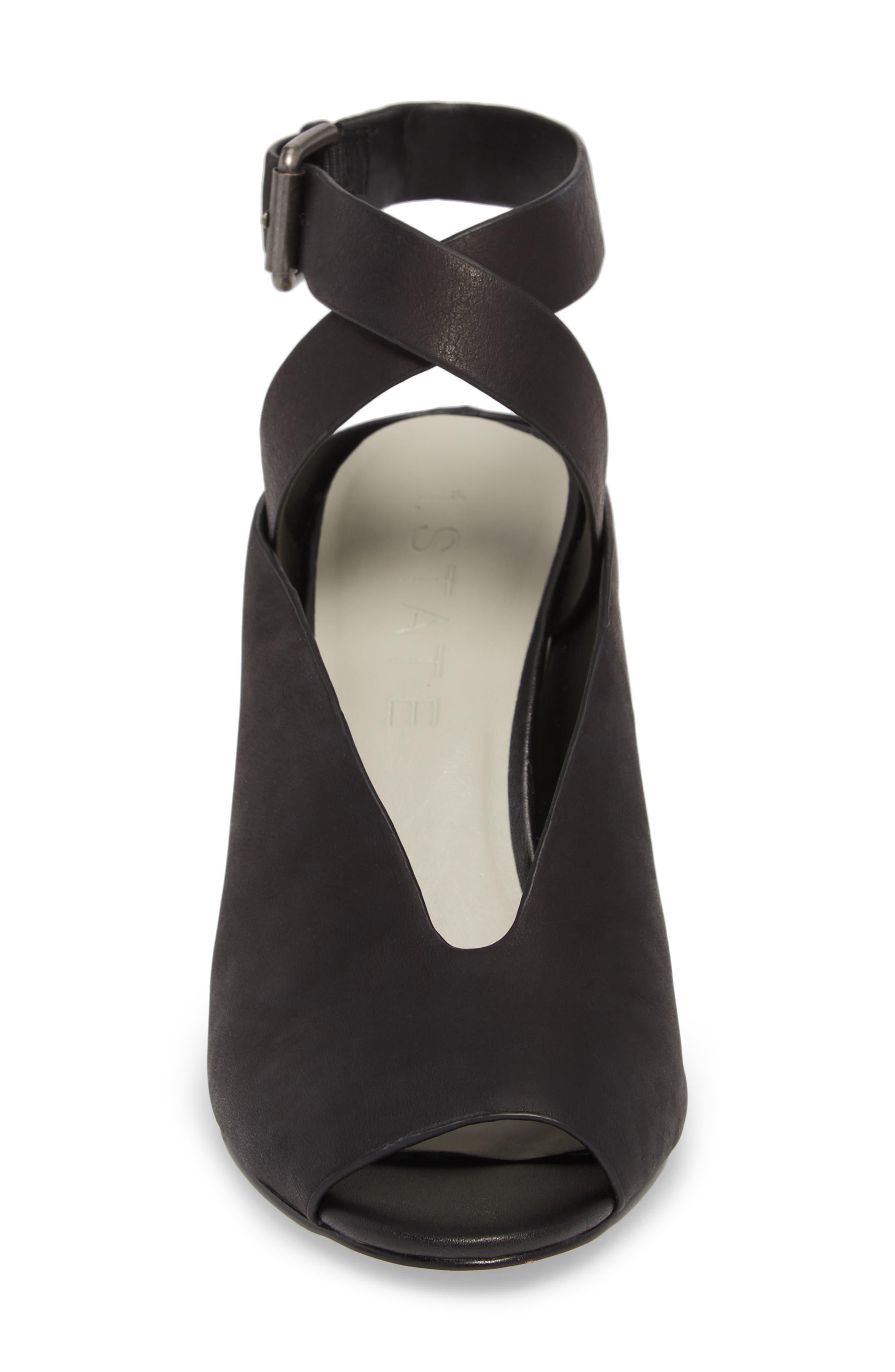 Felidia Wedge Sandal,                             Alternate thumbnail 5, color,                             Black Leather
