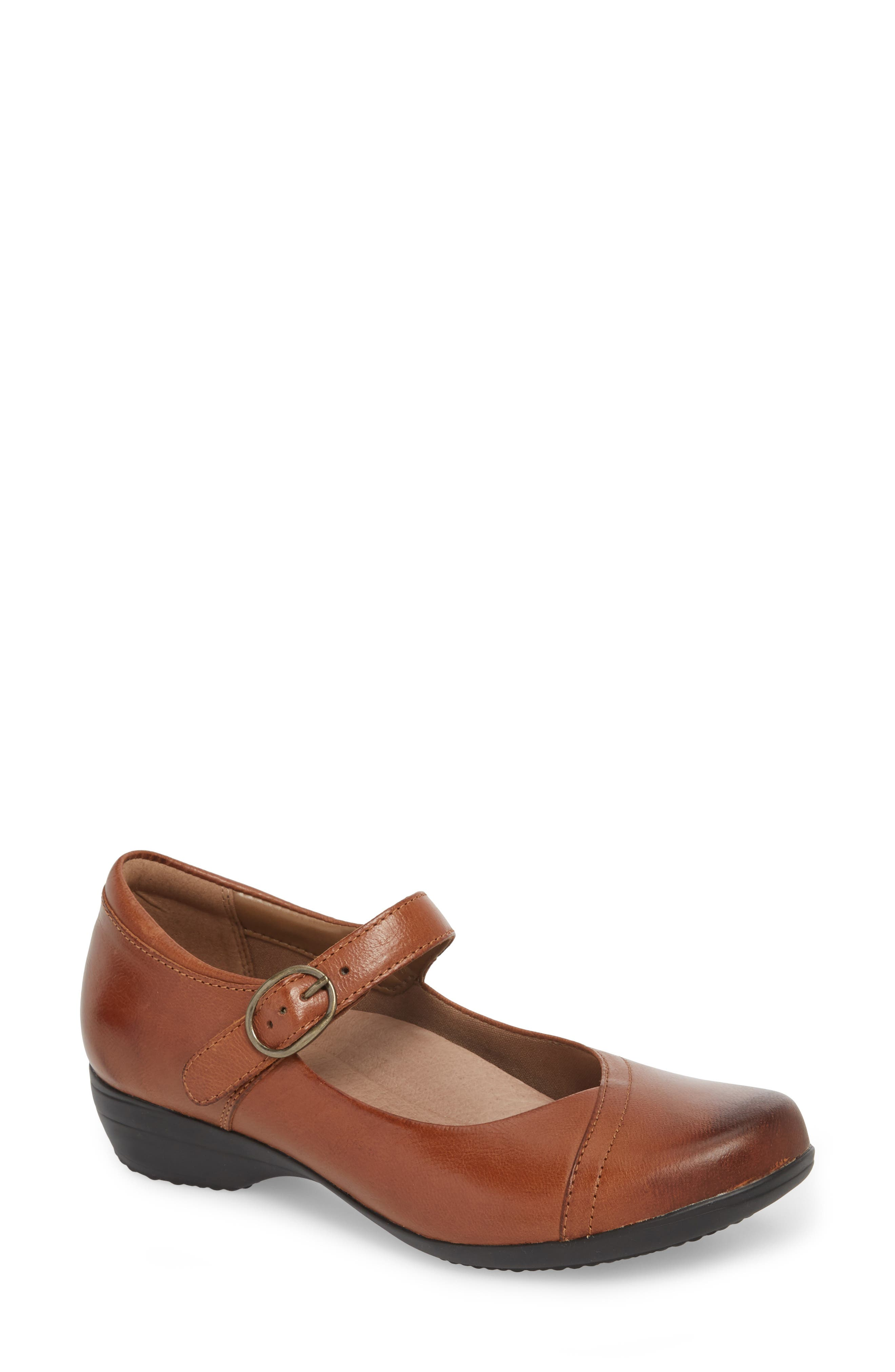 Fawna Mary Jane Flat,                             Main thumbnail 1, color,                             Chestnut Leather